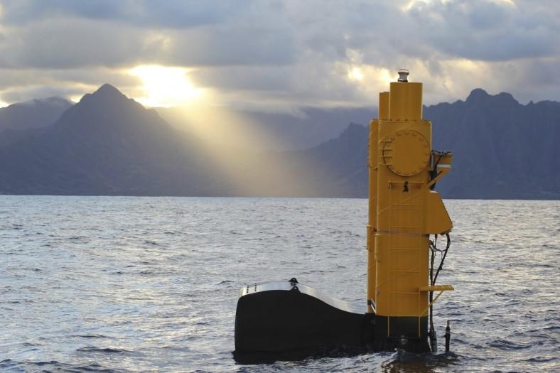 Figure      SEQ Figure \* ARABIC    2       - NWEI's Azura Wave Energy Converter at a test site in Hawaii