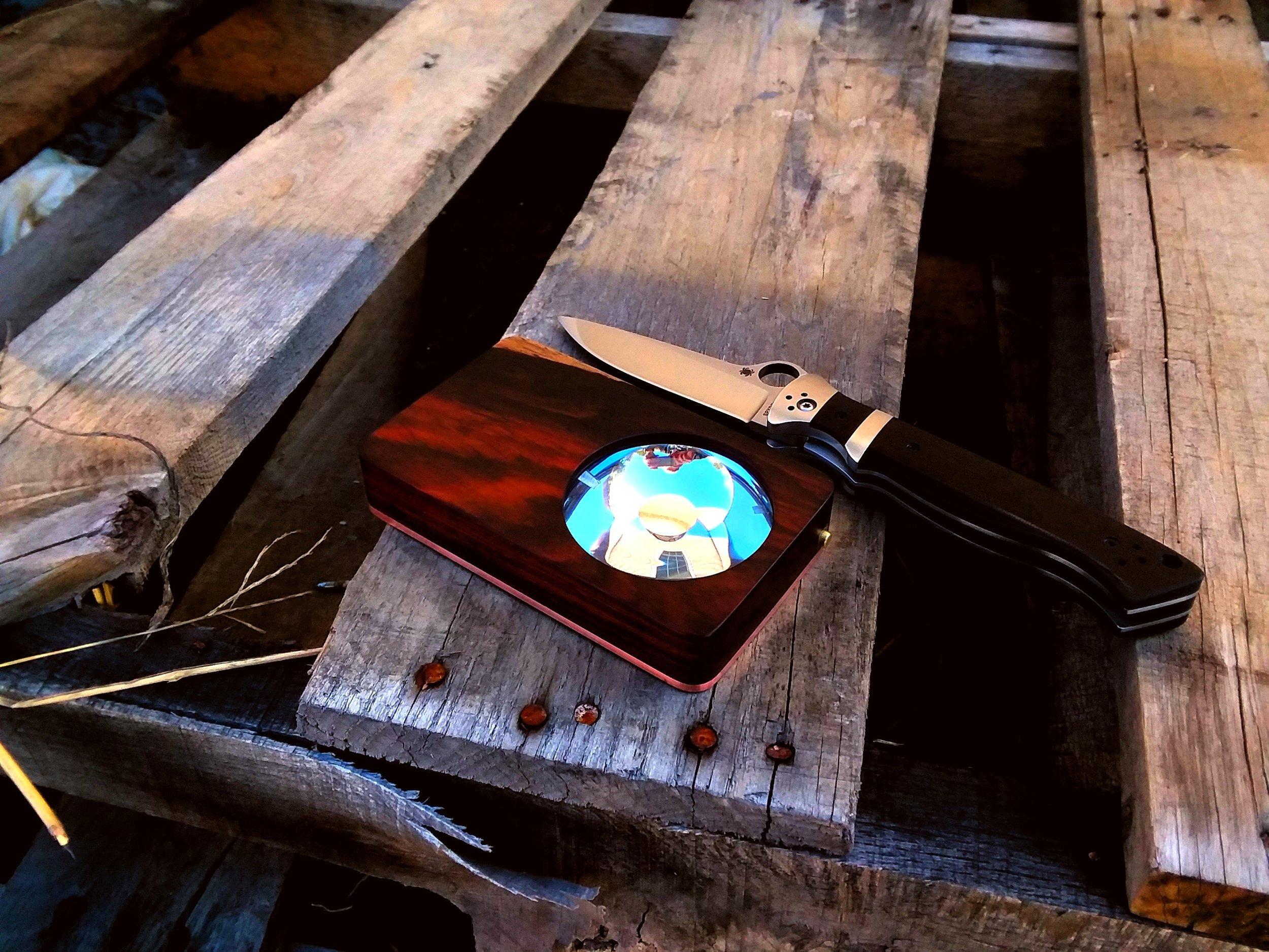 Eye of Sekhmet cocobolo over copper w/ Spyderco Butch Vallotton