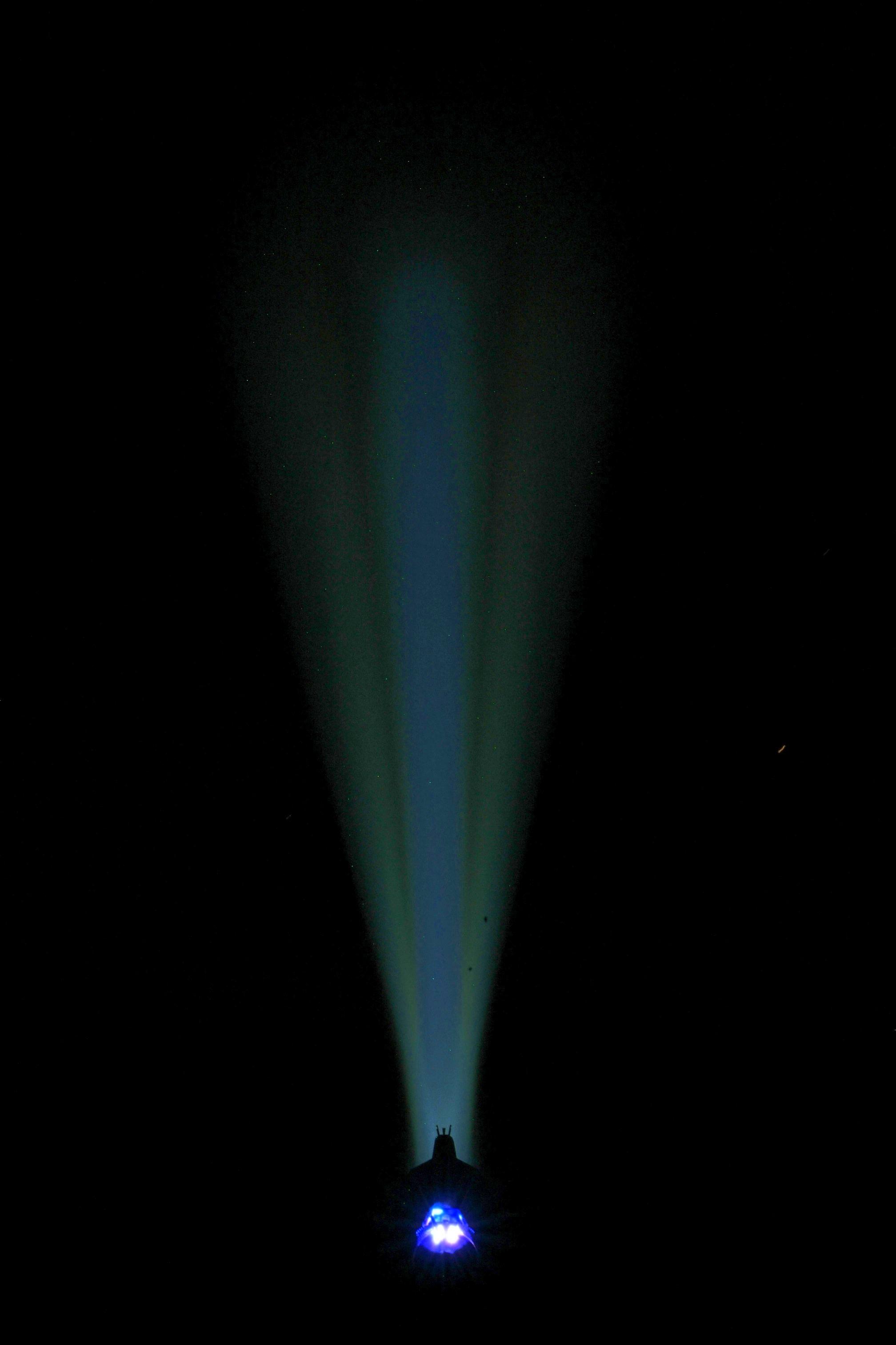 Storm of Ra >600,000 candela, 8000 emitter lumens, 6000 BEAM LUMENS, 4000K, translucent blue accents.