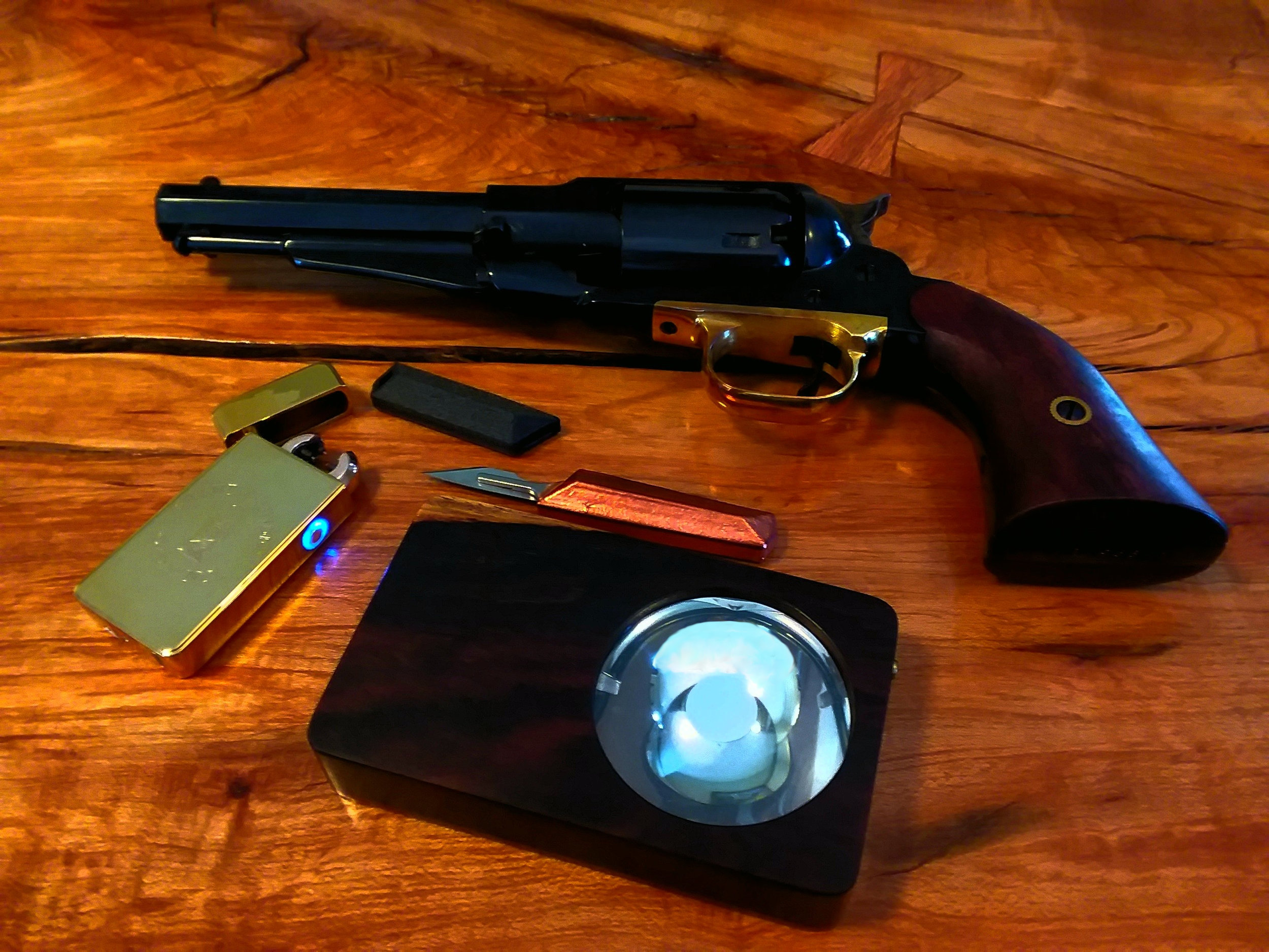 STO arc lighter, custom scalpeldashi in copper w/ carbon fiber sheath, Eye of Sekhmet, 1858 black powder .44 caliber revolver