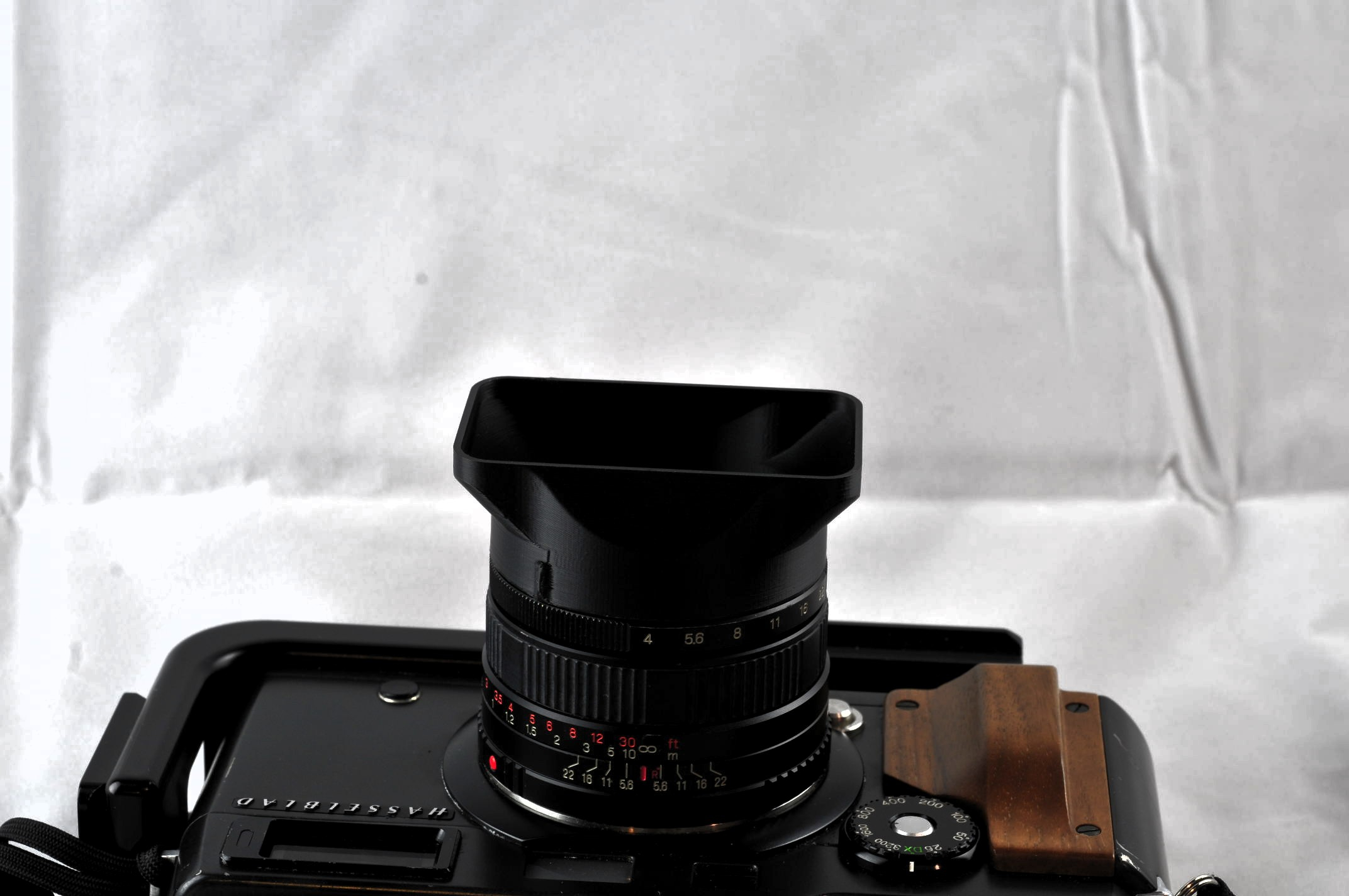 Hasselblad XPan with our reproduction lens shade.