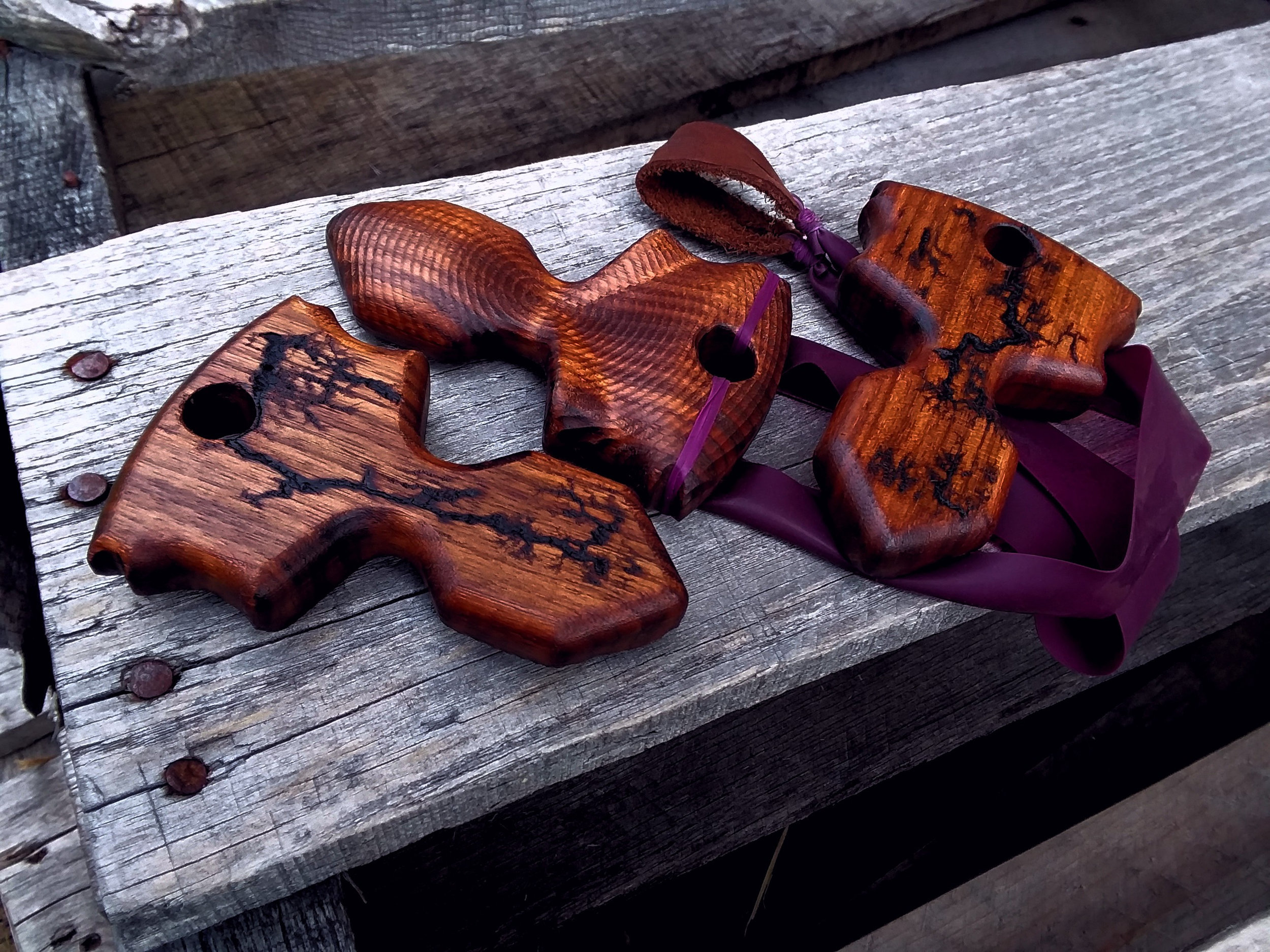 Our Nit slingshot in lightning strike walnut.