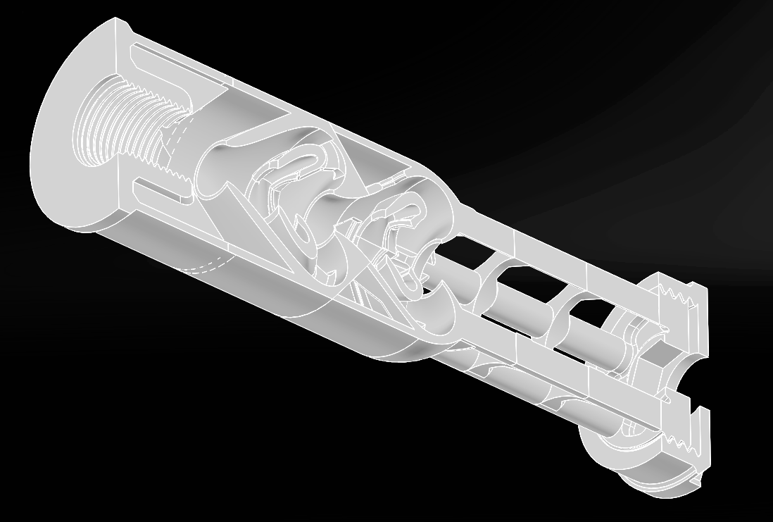 An image of the rev.4 core design clearly showing the three distinct stages. Not shown are the rubber and foam elements which attach to the skeletal structure seen toward the muzzle end of the moderator.