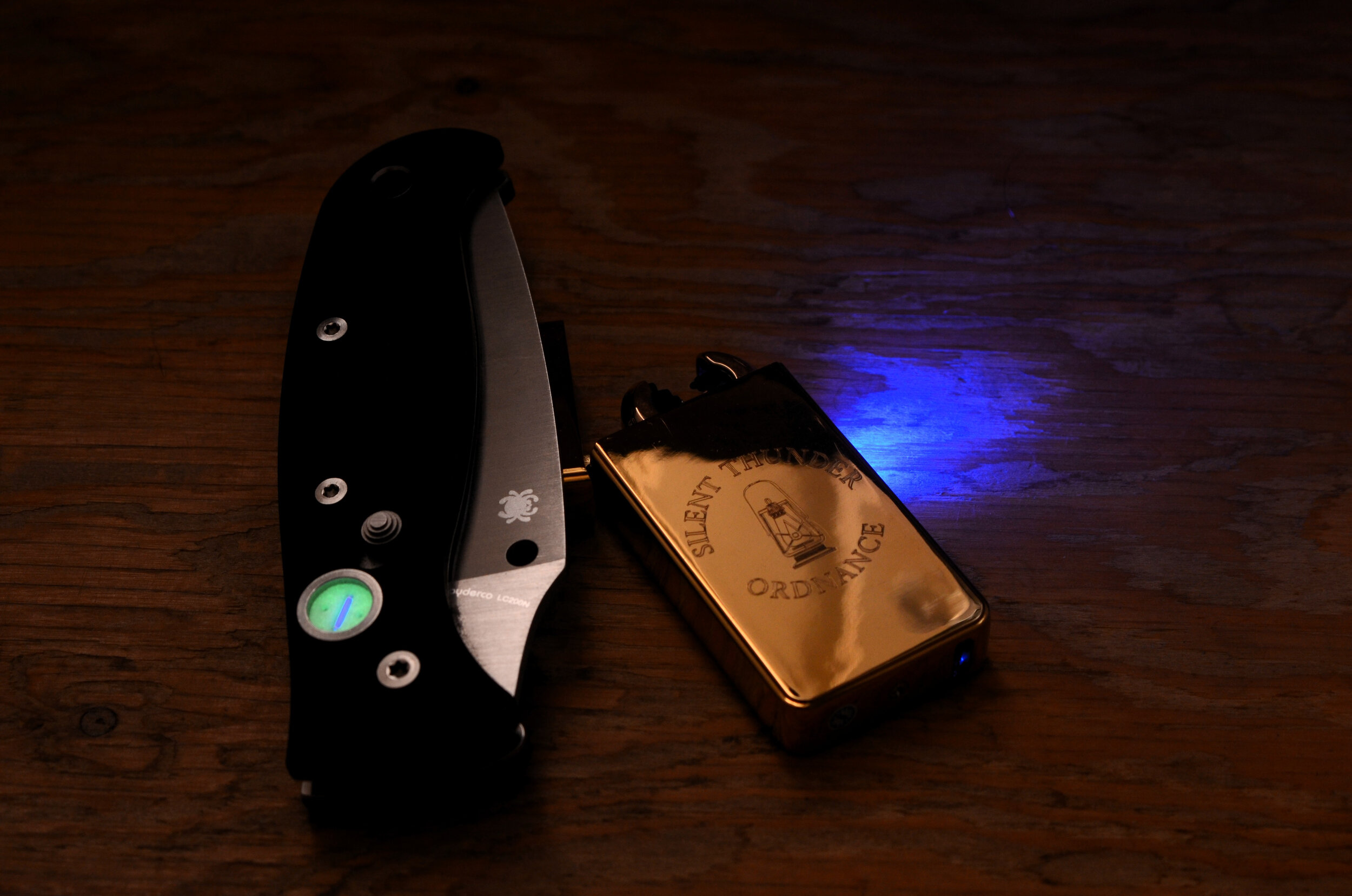 Tritium vial holding GITD insert for a Spyderco Autonomy 2. Seen here with our  arc lighter