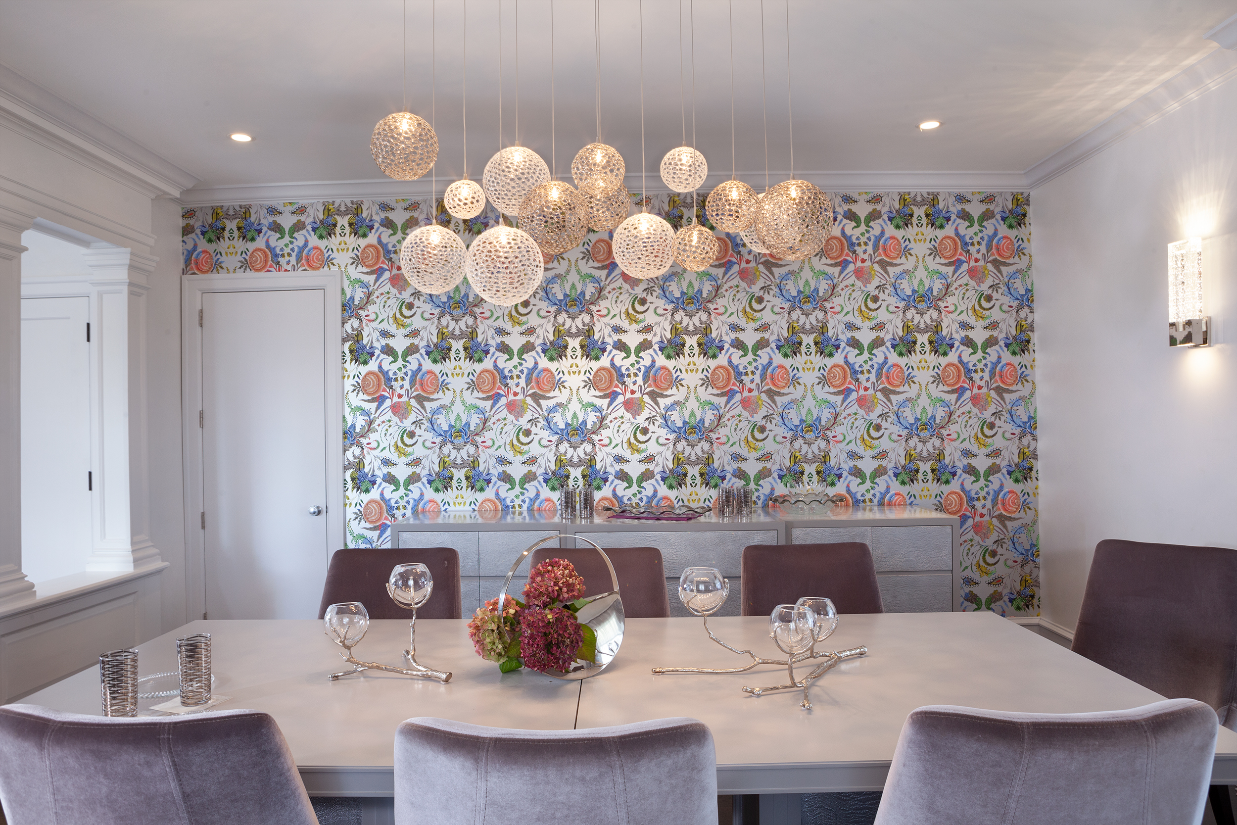 Featured wallpaper by Christian Lacroix and featured lighting by Shakuff
