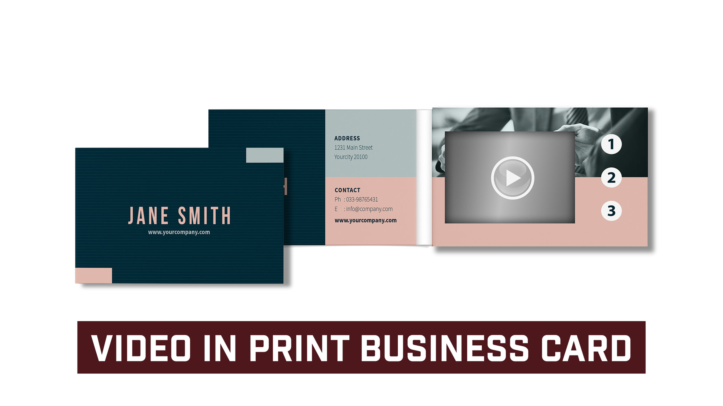 Video In Print Business Card *Plays Four Videos