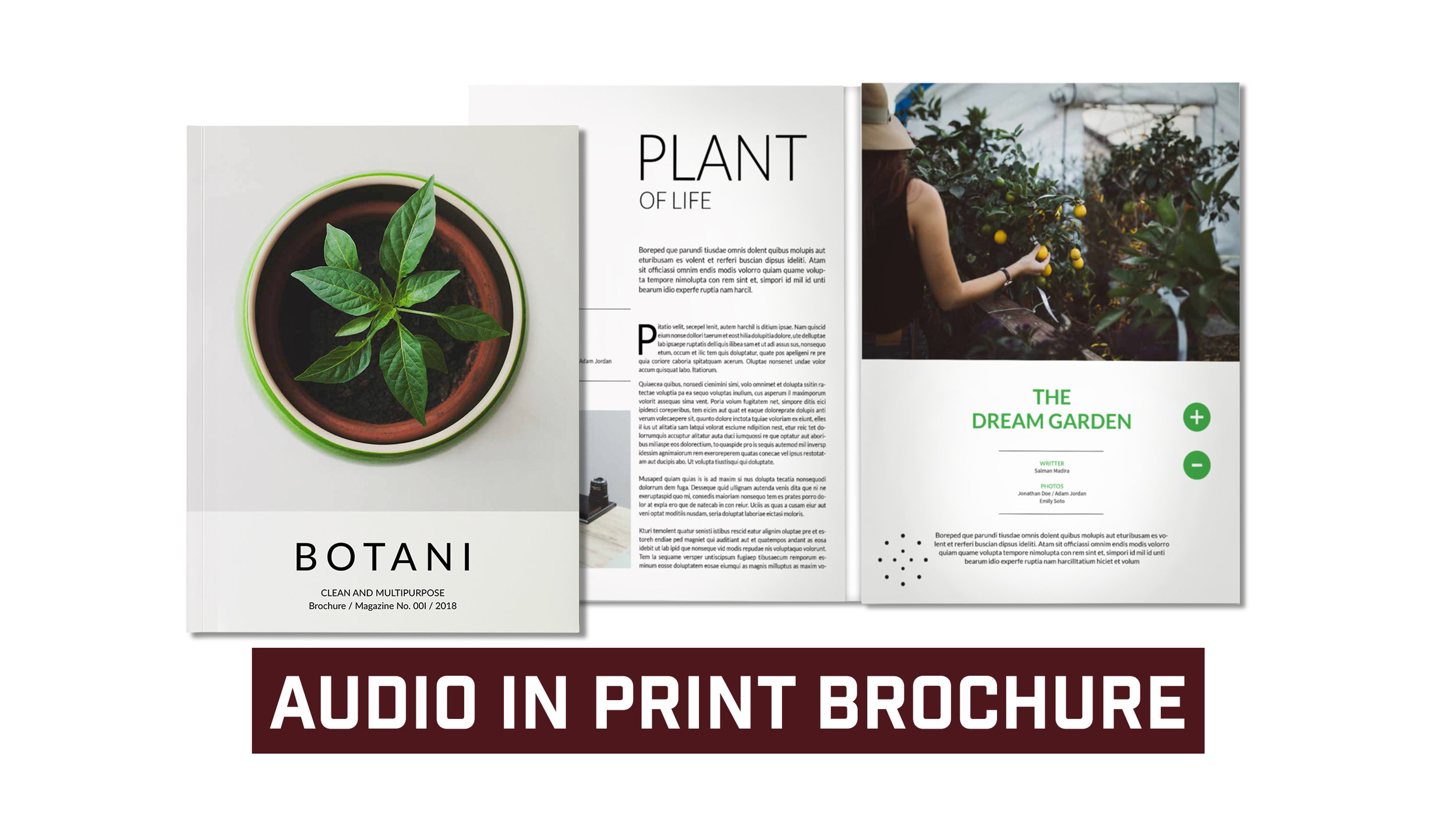 Audio In Print Brochure Includes Built In Speaker and Volume Control