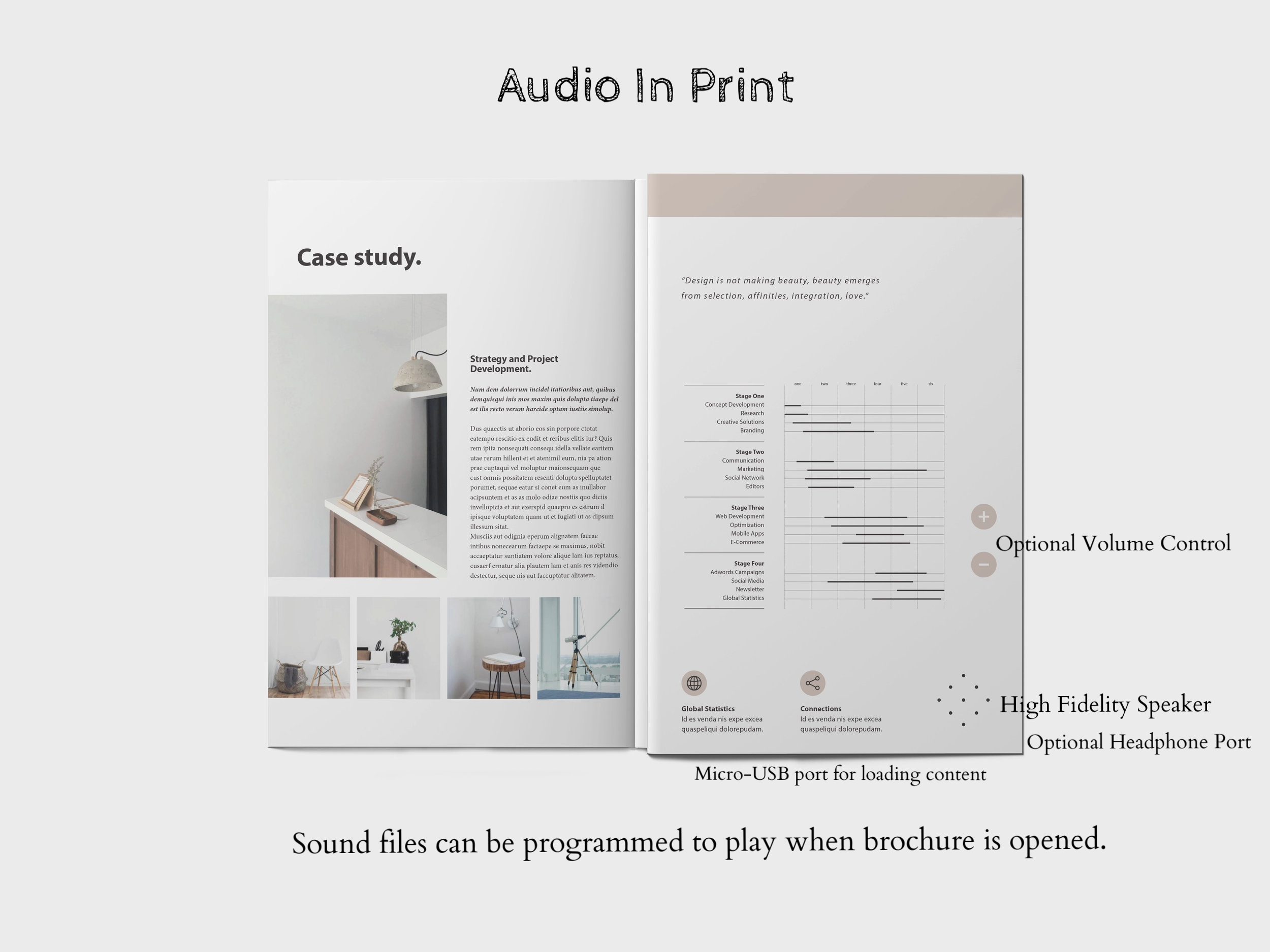 Printflix stock Audio-In-Print Products include audio brochures, audio greeting cards, audio postcards, audio magazine inserts and flyers, audio books and audio albums. Sound files are easily added through a built-in USB port and each product stays charged for an average of two hours of continuous play, three months of non-continuous play.