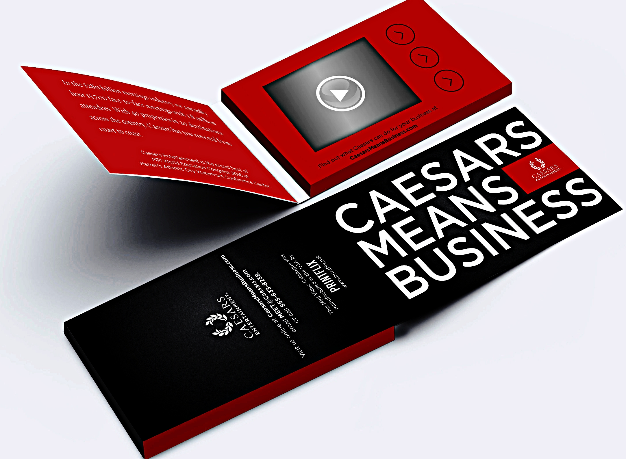 Caesars Video Business cards with three buttons/ Easily personalize your business car with a selfie video.