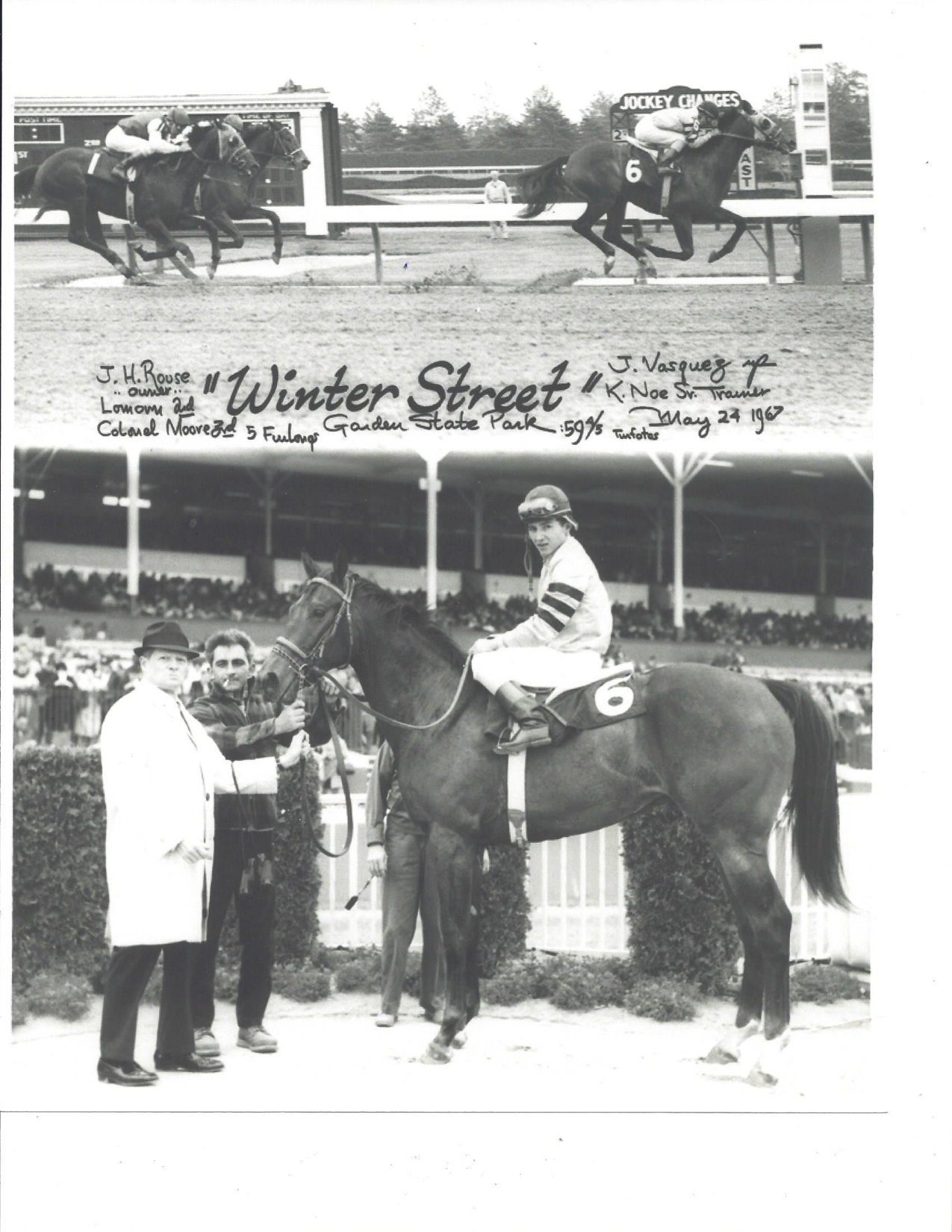 While Howard Rouse did not own any Derby horses, he did have a few winners, including Winter Street,who won a Garden State Park (N.J.) race in 1967. The horse was named after the main road through Midway, U.S. 62, or Winter Street, where he and Honeywood lived. Howard is not in the picture above, because he usually shunned the winner's circle.
