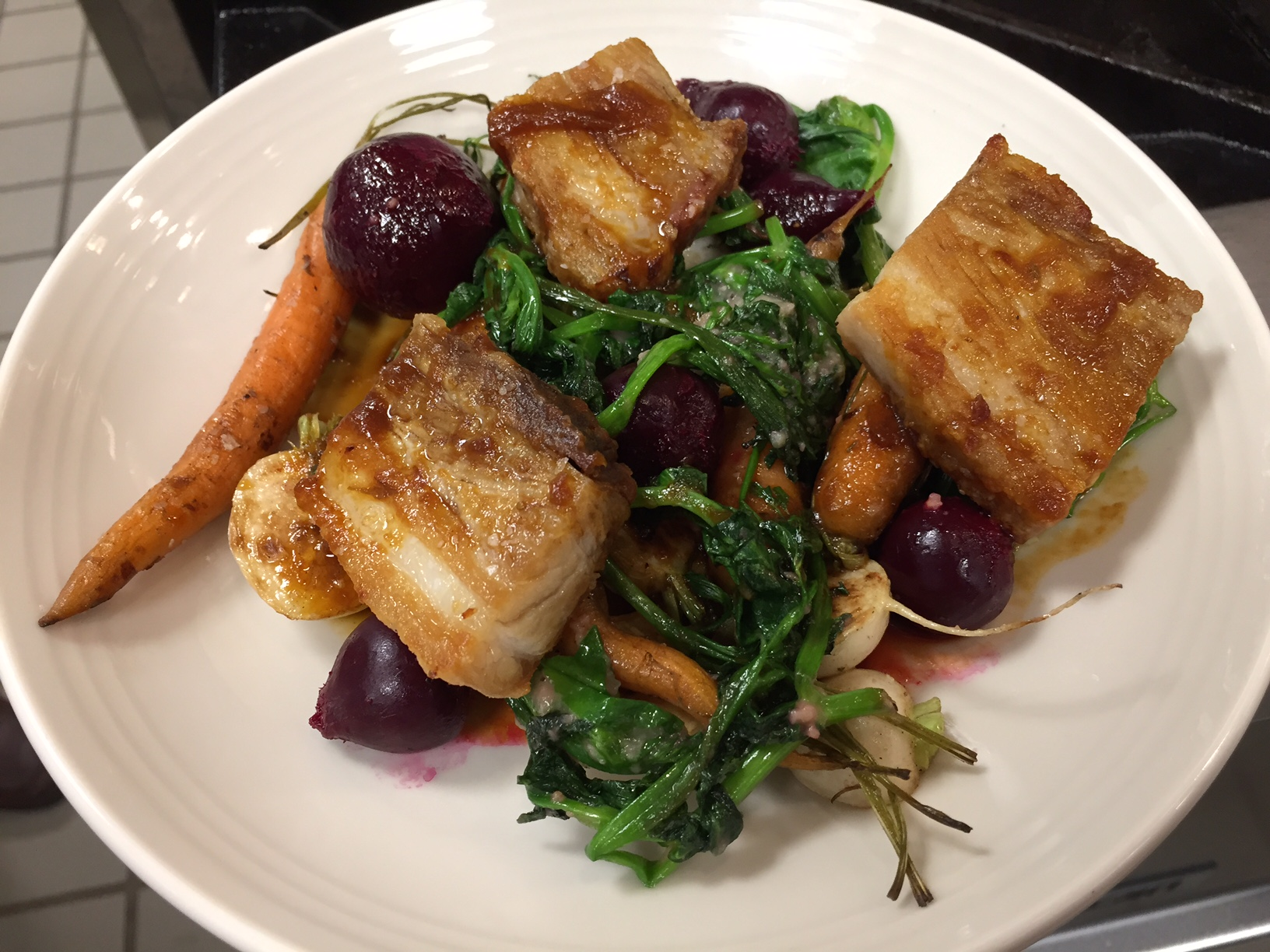 Chef Josh roasted Stone Cross Farm pork belly and paired it with pea shoots (his favorite), beets, turnips and carrots from Three Spring Farm.