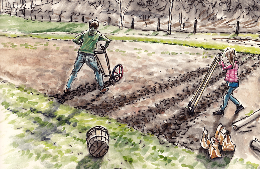 David's wife, Arwen Donahue, shares one of her illustrations of early spring on the farm, with her and daughter, Phoebe, planting a garden.
