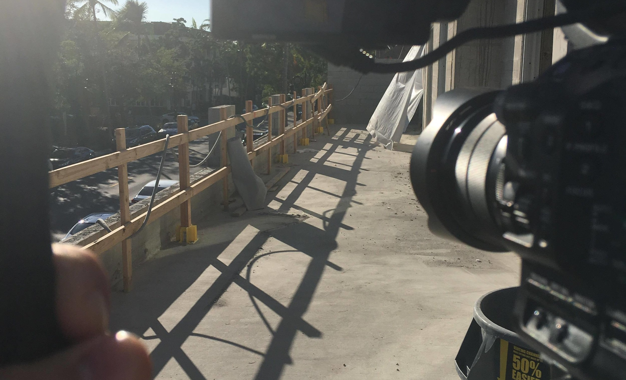 Shooting B-Roll of One of the Balconies.