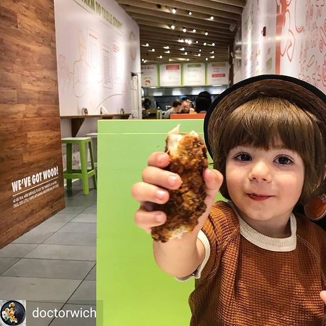 Thanks for bring your little clucker to enjoy our little cluckers @doctorwich! Xan man was jammin' on the #lilcluckers @holychickenusa today!  #holychicken #holychickenusa