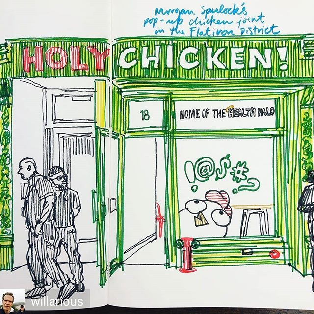 Thanks for sharing @willarious! 'Holy Chicken!' Morgan Spurlock's pop-up chicken joint on 23rd Street goes after big poultry and healthy marketing spins. And promotes his new film 'Super Size Me 2: Holy Chicken!' It's up through September 22, so check it out. The chicken sandwich ($9.75) was actually quite tasty. #supersizeme2 #chicken #fastfood #poultry #restaurants #food #usda #marketing #health #nutrition #popupshop #brands #sketchbook #commentary #drawing