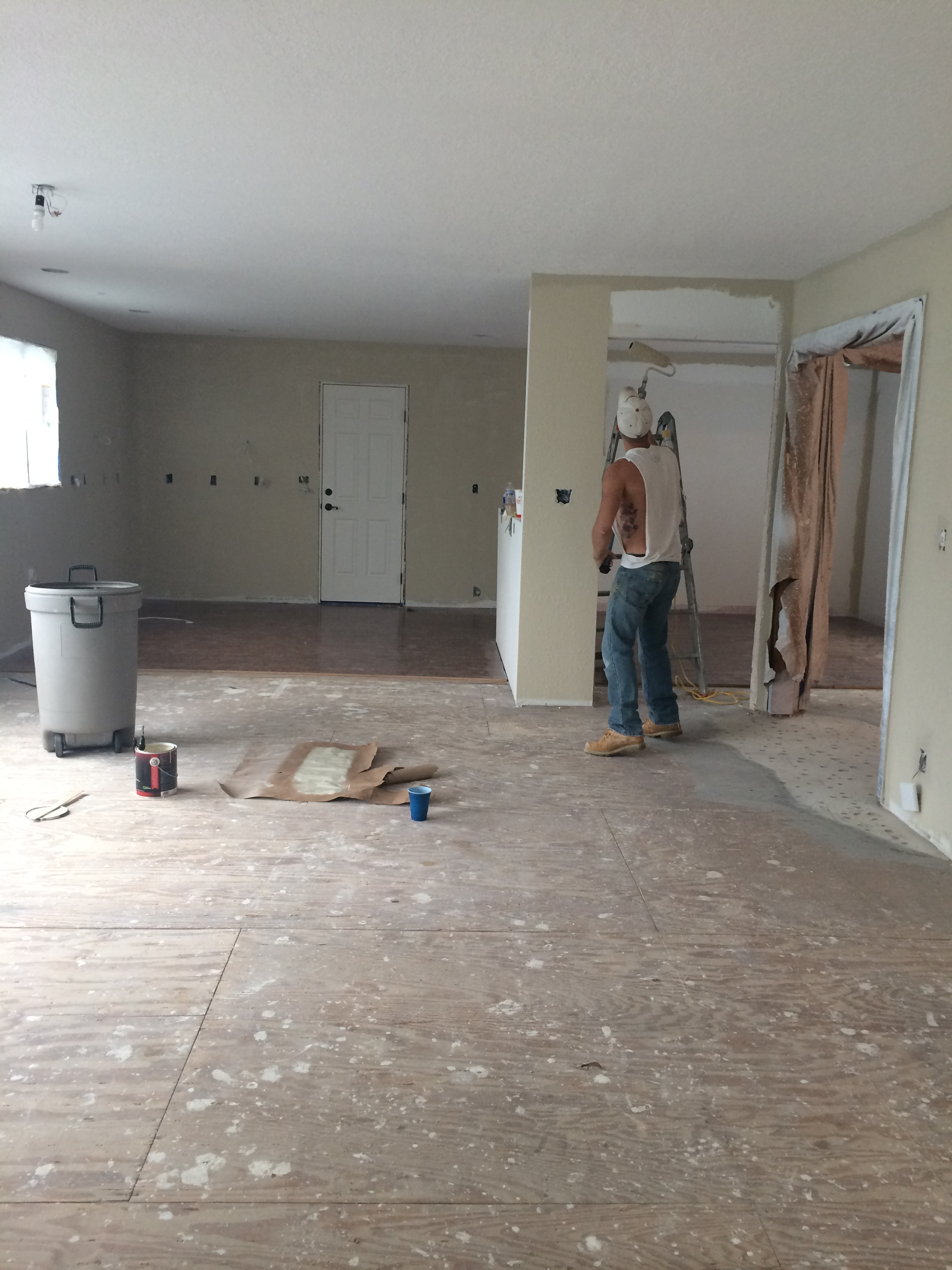 view of the family room/kitchen from the fireplace