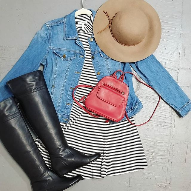 Classic combo of stripes and a denim jacket looks perfect with a wool floppy hat and over the knee boots 😍 The red mini backpack completes this Florida friendly outfit! #wearsomethingdifferent #dressinhappinessdaily #rockit ##rentit #buyit #letsplaydressup #sustainablefashion #fashionrevolution #ecofashion #bethechange #bethechangeyouwanttoseeintheworld #newinventoryeveryday #membershiphasitsperks #supportwomanowned #supportsmallbusiness #supportlocal #supporttheheights #tampafashion #tampastyle #seminoleheights #shopsh #limitlesscloset #endlesspossibilities #personalshopper #personalstylist #styleme #dressme