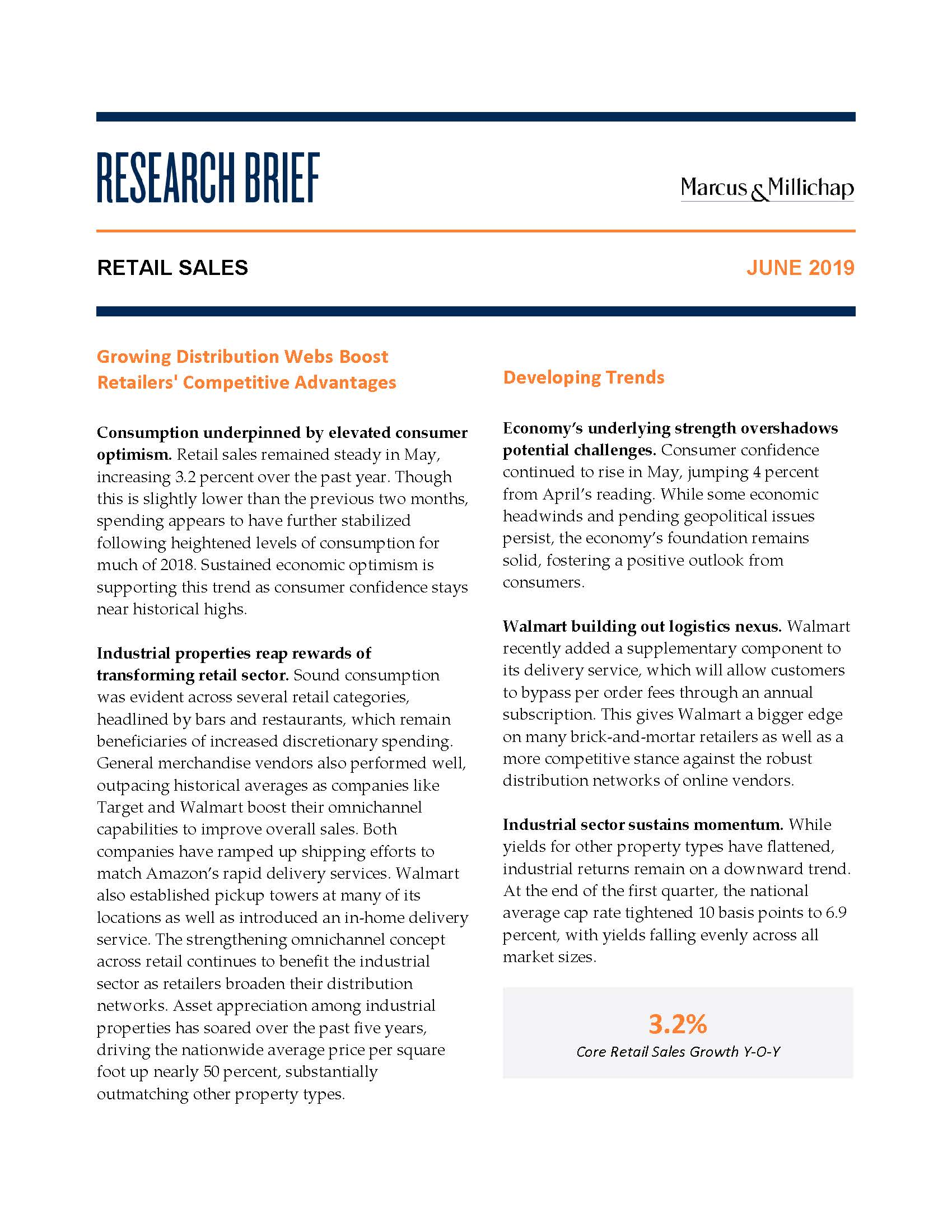 Research Brief - June 2019Retail Sales - Consumption underpinned by elevated consumer optimism. Retail sales remained steady in May, increasing 3.2 percent over the past year. Though this is slightly lower than the previous two months, spending appears to have further stabilized following heightened levels of consumption for much of 2018. Sustained economic optimism is supporting this trend as consumer confidence stays near historical highs.