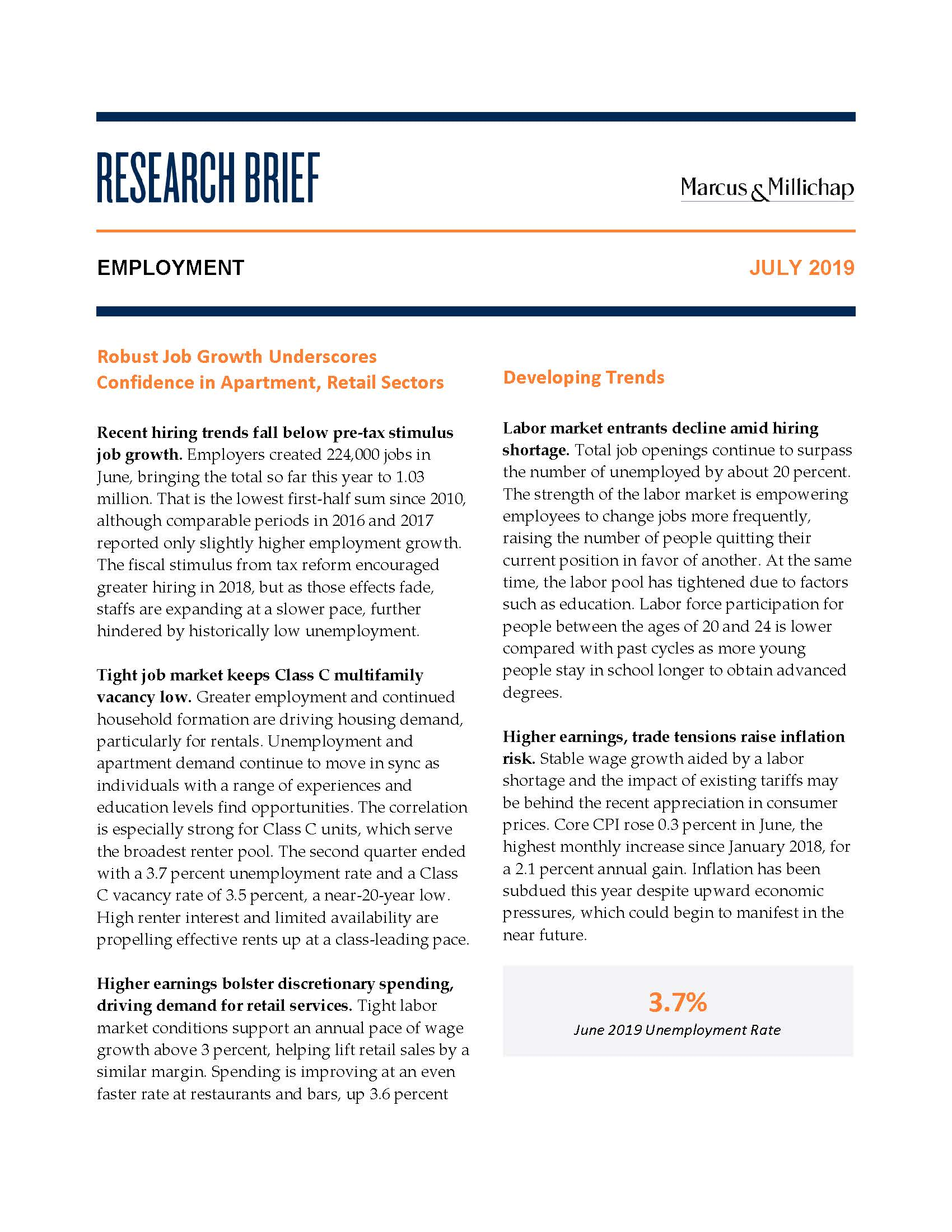 Research Brief - July 2019Employment - Recent hiring trends fall below pre-tax stimulus job growth. Employers created 224,000 jobs in June, bringing the total so far this year to 1.03 million. That is the lowest first-half sum since 2010, although comparable periods in 2016 and 2017 reported only slightly higher employment growth. The fiscal stimulus from tax reform encouraged greater hiring in 2018, but as those effects fade, staffs are expanding at a slower pace, further hindered by historically low unemployment.
