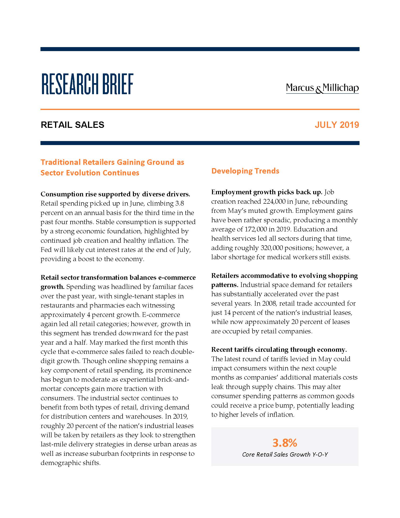 Research Brief - July 2019Retail Sales - Consumption rise supported by diverse drivers. Retail spending picked up in June, climbing 3.8 percent on an annual basis for the third time in the past four months. Stable consumption is supported by a strong economic foundation, highlighted by continued job creation and healthy inflation. The Fed will likely cut interest rates at the end of July, providing a boost to the economy.