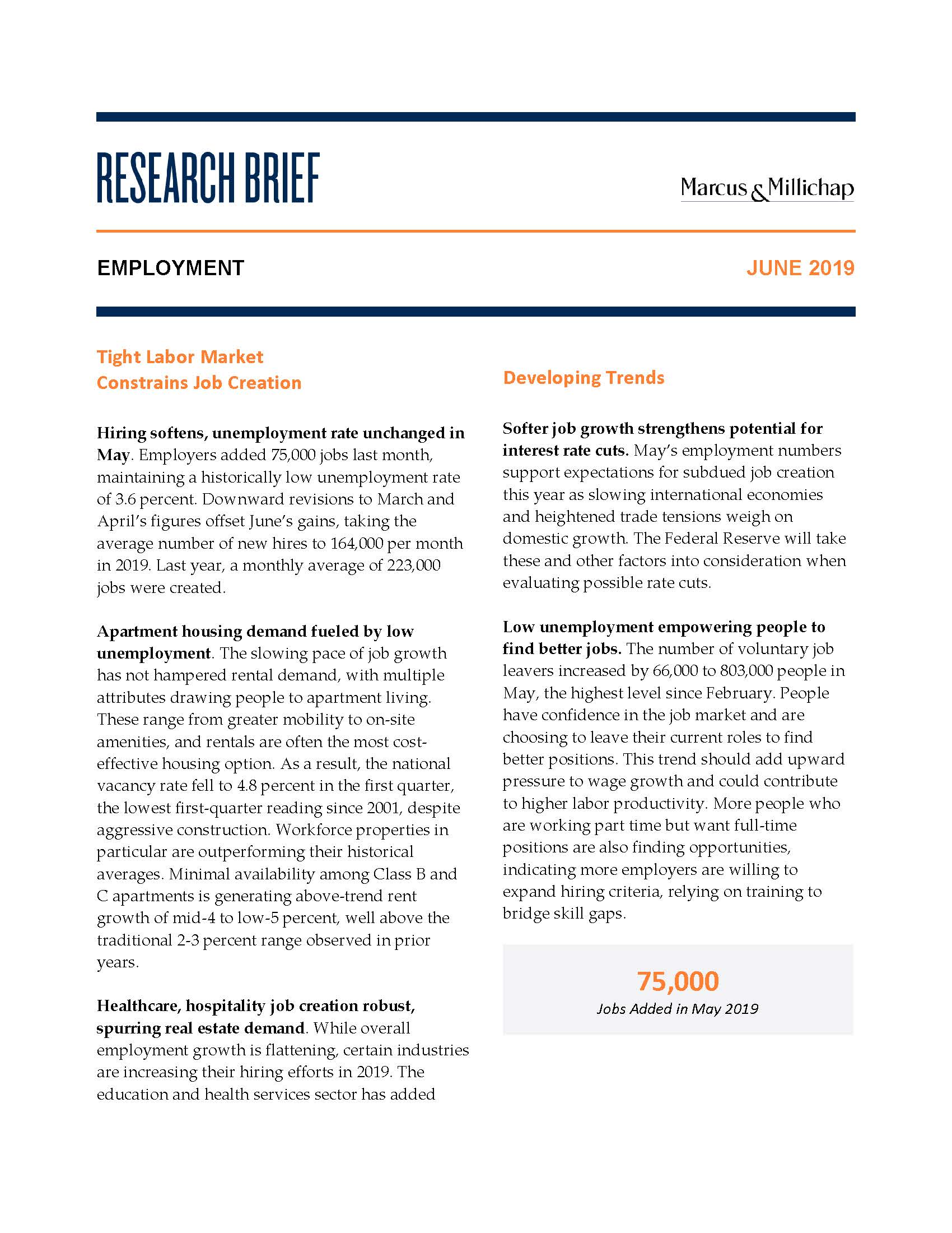 Research Brief - June 2019Employment - Hiring softens, unemployment rate unchanged in May. Employers added 75,000 jobs last month, maintaining a historically low unemployment rate of 3.6 percent. Downward revisions to March and April's figures offset June's gains, taking the average number of new hires to 164,000 per month in 2019. Last year, a monthly average of 223,000 jobs were created.