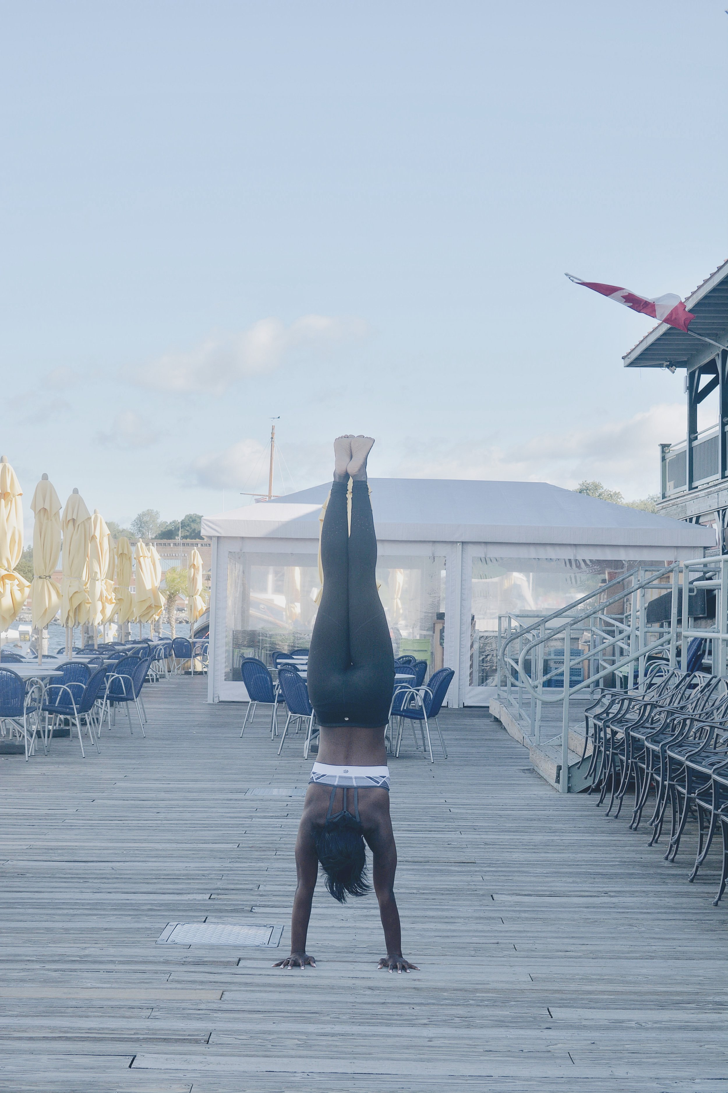 Obligatory handstand pic (although I will admit both my contacts fell out immediately after I took this picture and I did yoga basically blind).