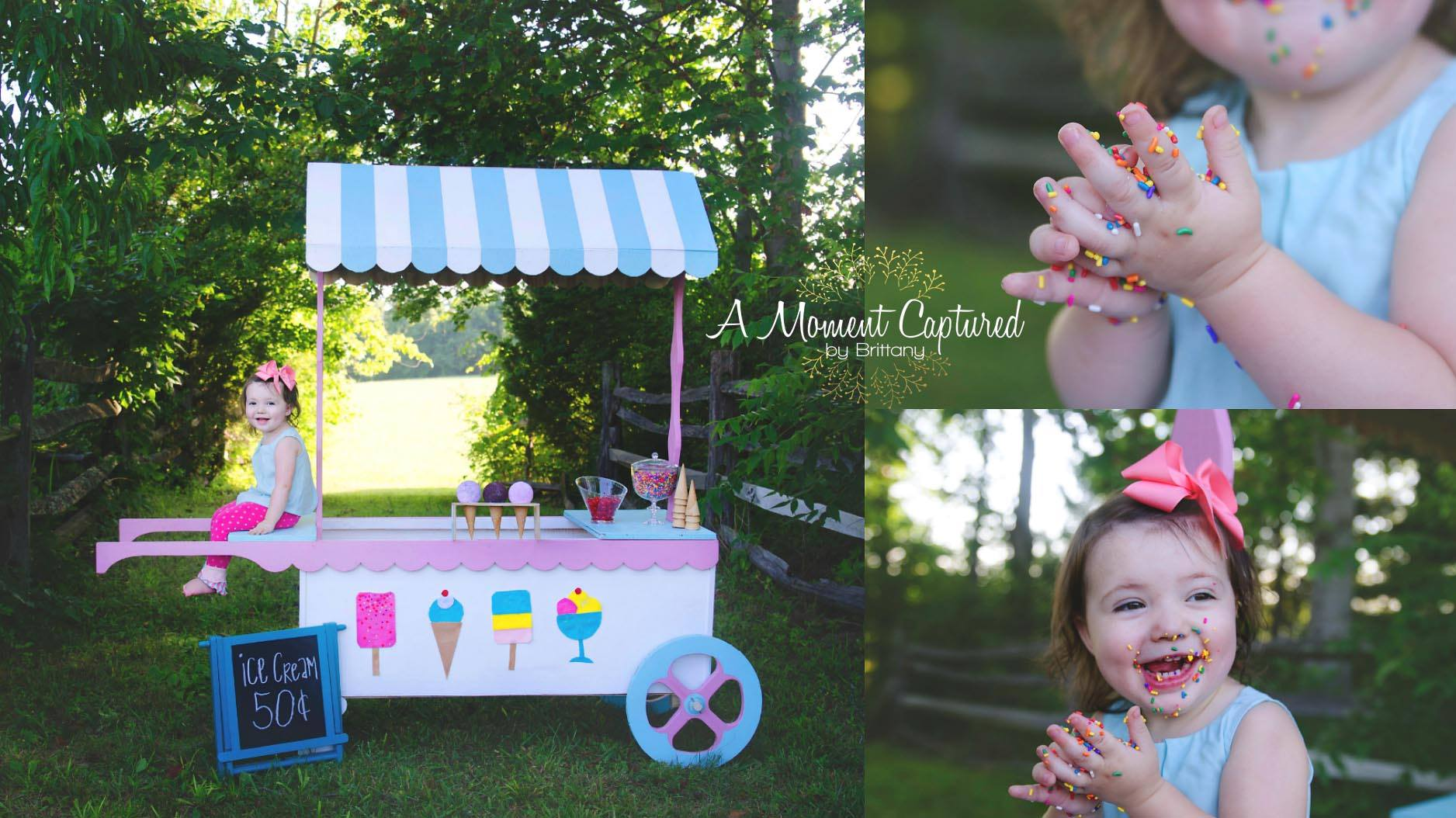 A Moment Captured, by Brittany  Items used: ice cream cart and chalkboard sign