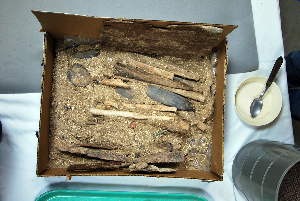 The redwood box prior to excavation and evaluation of its contents