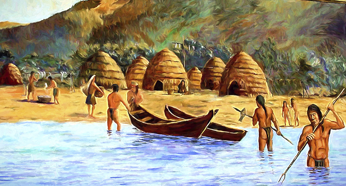 Depiction of a Chumash maritime village