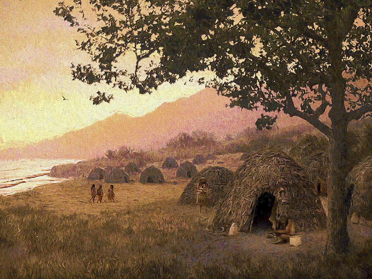 Depiction of Chumash dwellings
