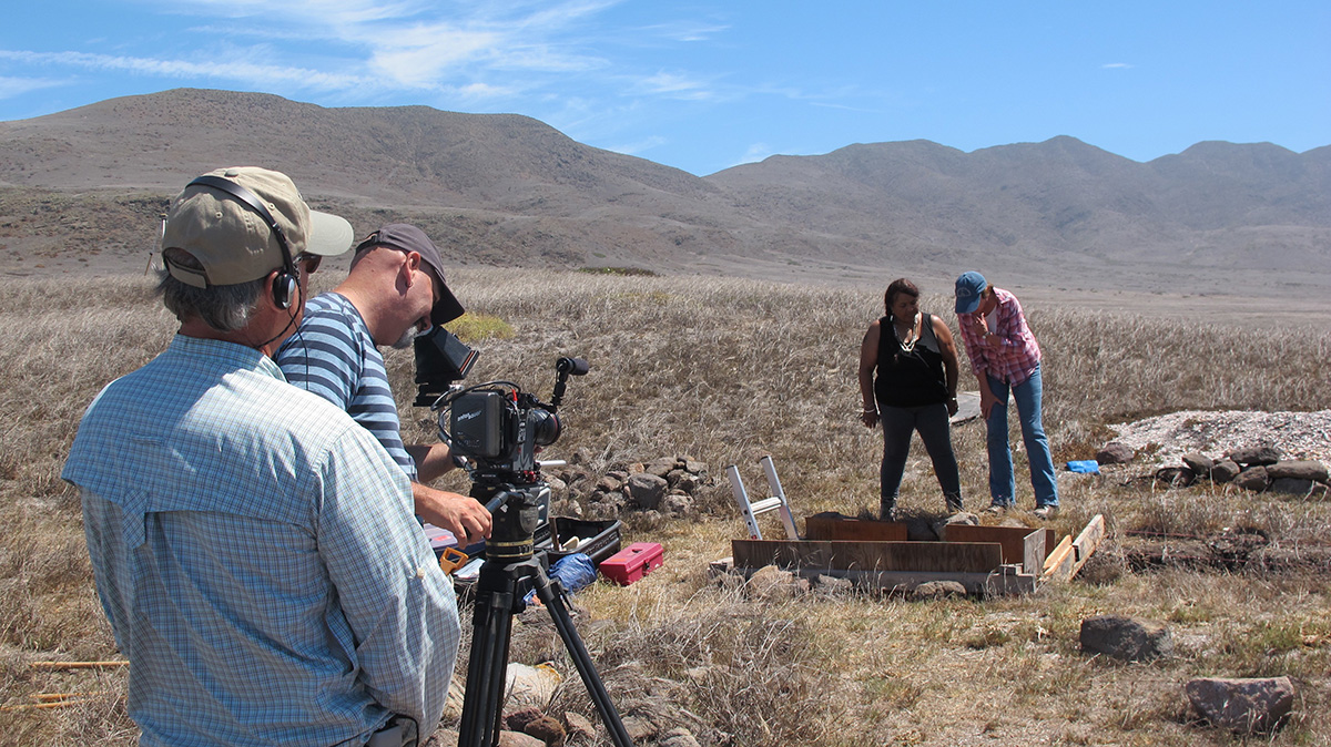 Julie Tumamait-Stenslie and Lynn Gamble during film shoot at El Monton