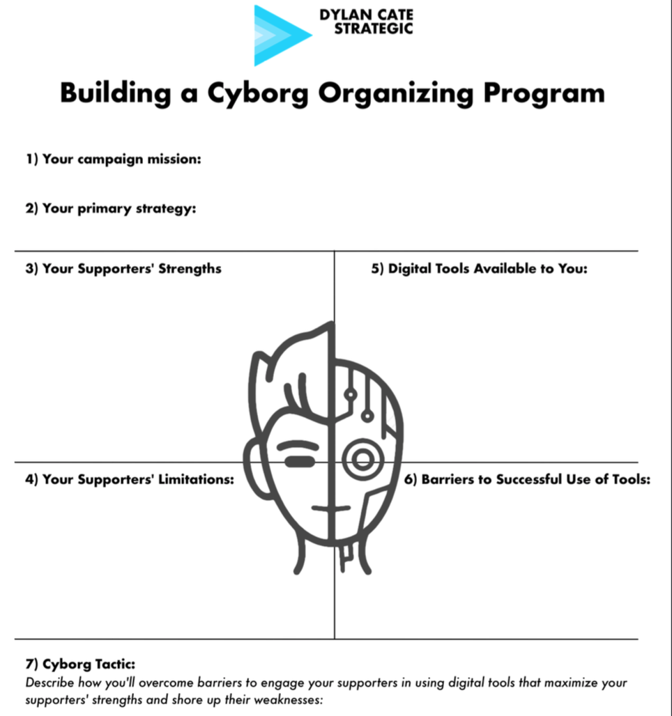 """Cyborg"" Digital Organizing Worksheet - This worksheet helps digital practitioners assess their inventory of digital and field resources, identify opportunities, and generate creative digital organizing program ideas to respond to those opportunities."