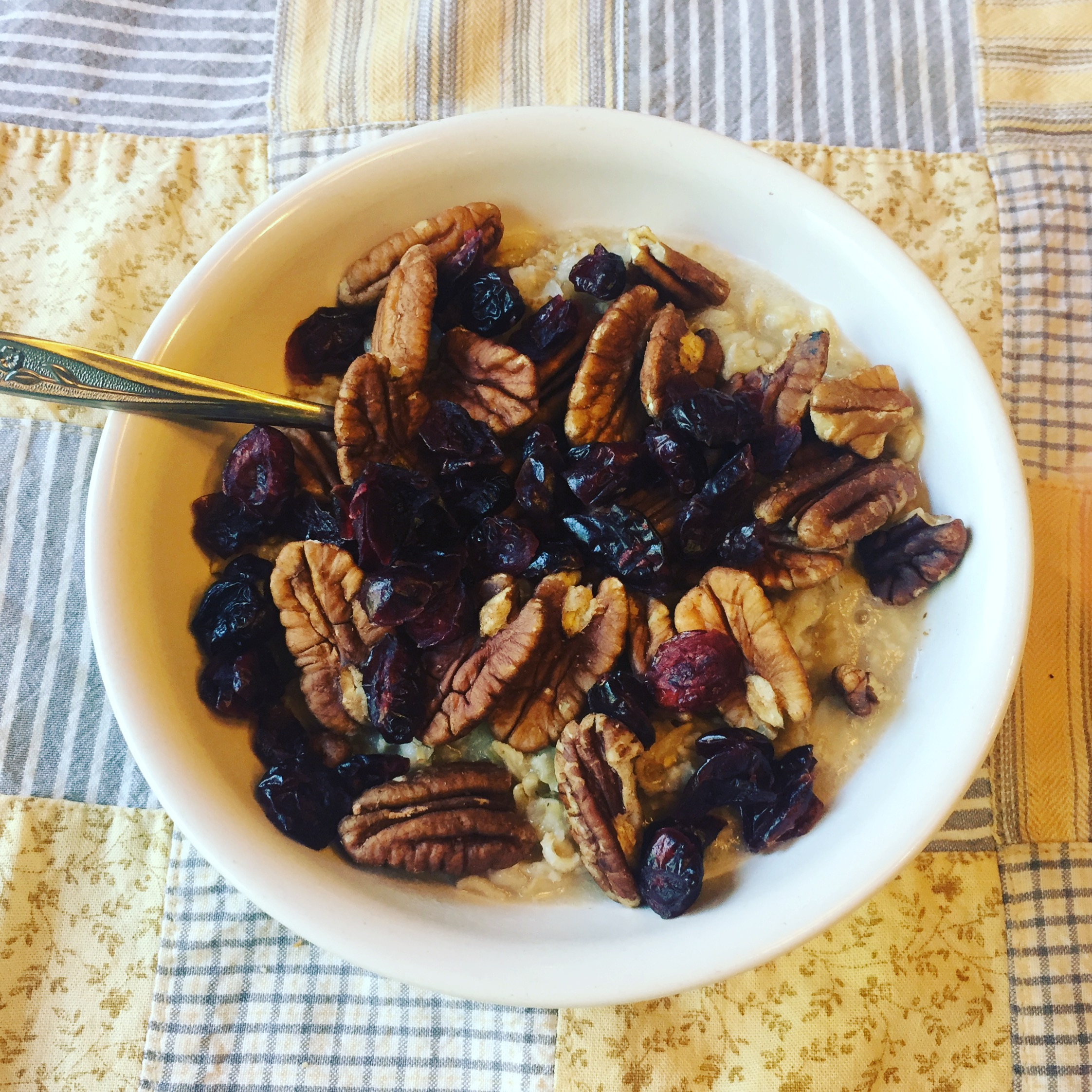 Oatmeal with Cranberries and Pecans