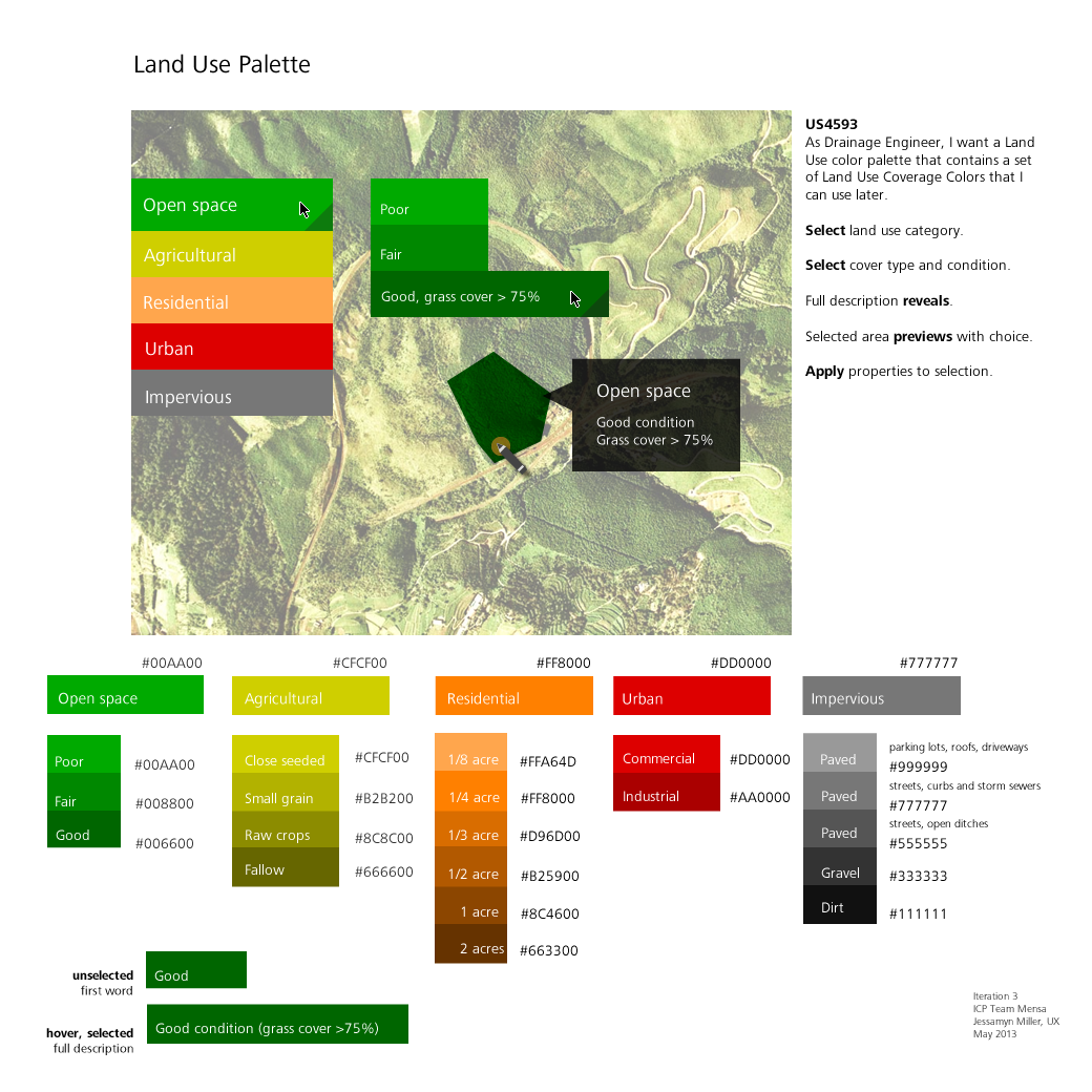 Land Use color palette for manually defining areas in a model