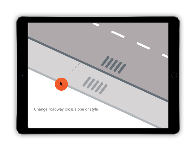 Drag and drop the edge of a road to widen it or adjust the cross slope.