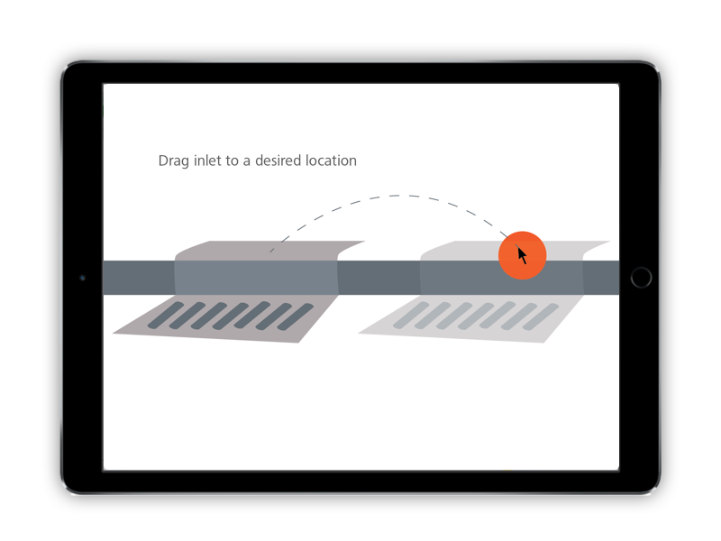 The user drags a storm inlet along the edge of a street curb. The model can identify low points and automatically suggest positioning.
