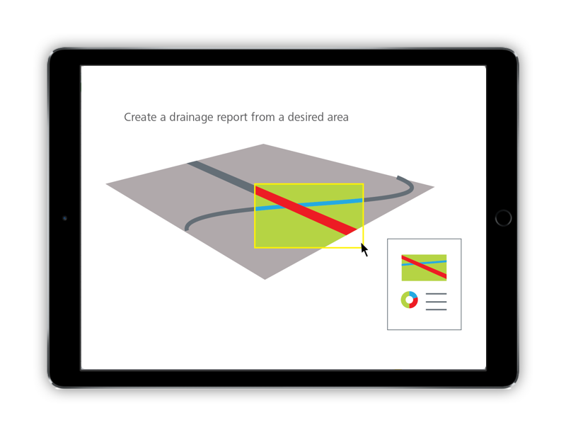 Terrain models are large and full of data. In this concept, the user selects a small area and sees data automatically filtered and visualized for their selection.