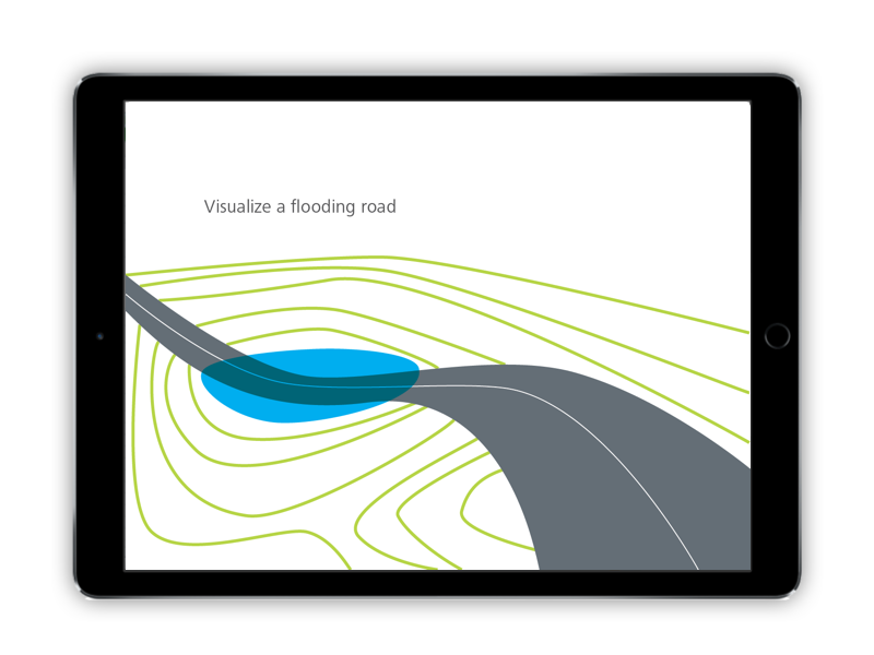 In this model, the user sees their roadway draped over a terrain. A storm event is simulated and flooding appears in areas where rainfall would collect.