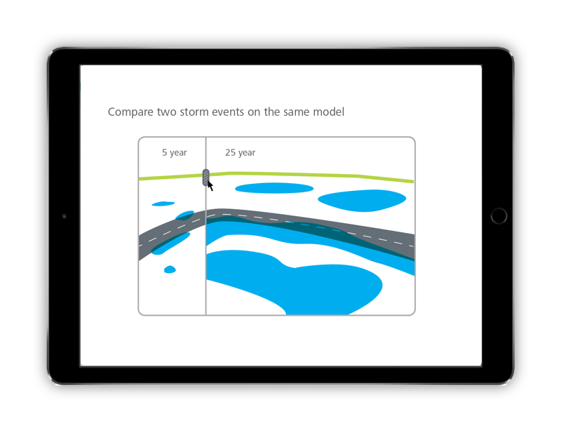 Using a slider, the user can visualize and compare the impact of two flood events side by side.