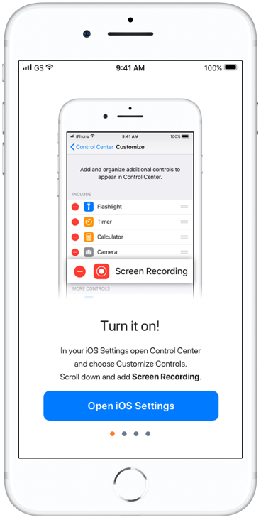 In the first step of the tutorial, shown only to first time users, the user sees they must customize their Control Center settings to enable Screen recording. The button takes them directly there, so they can complete this step before proceeding.
