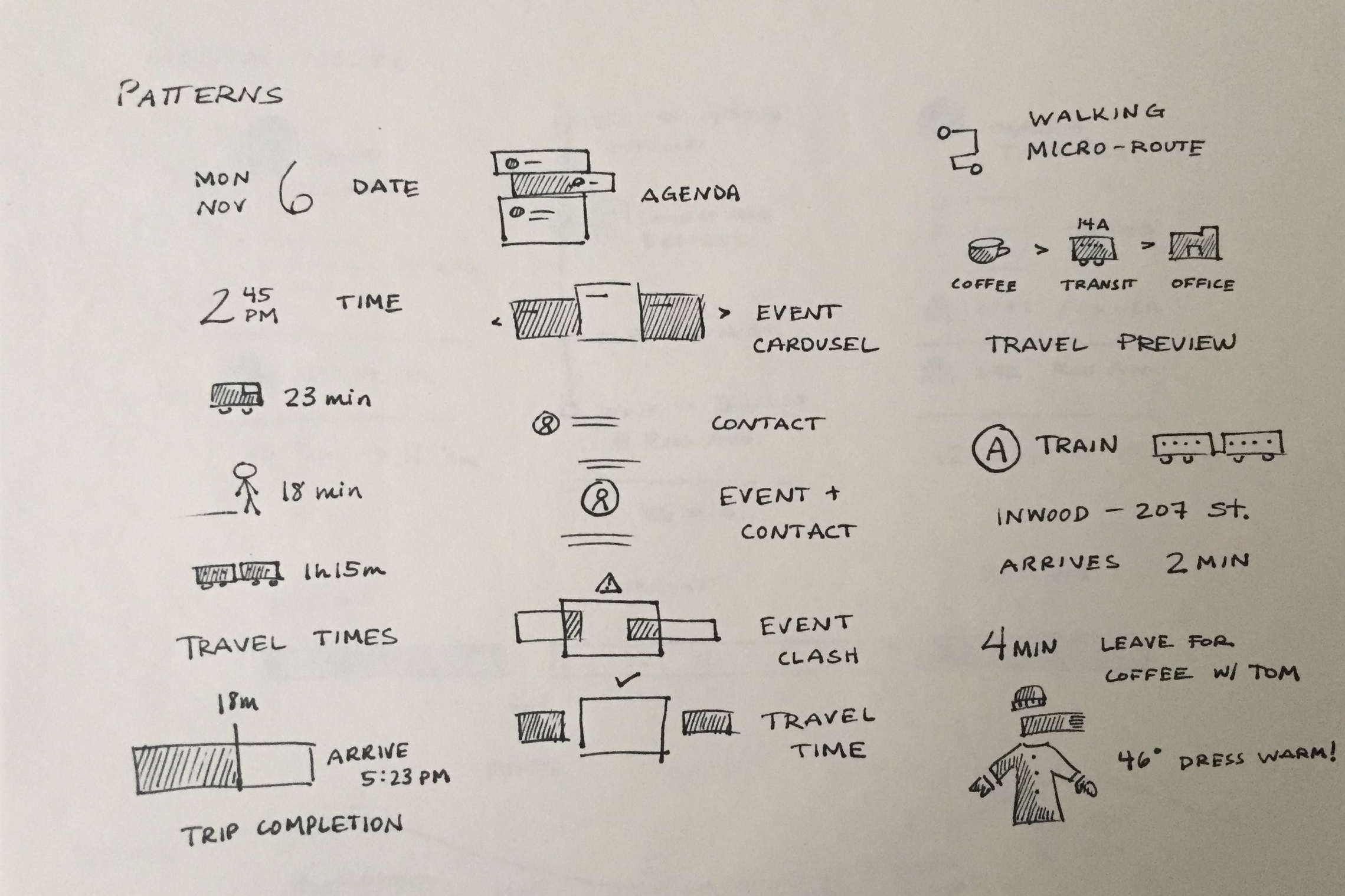 Design patterns for time and dates, icon and word pairing and illustrations of time.