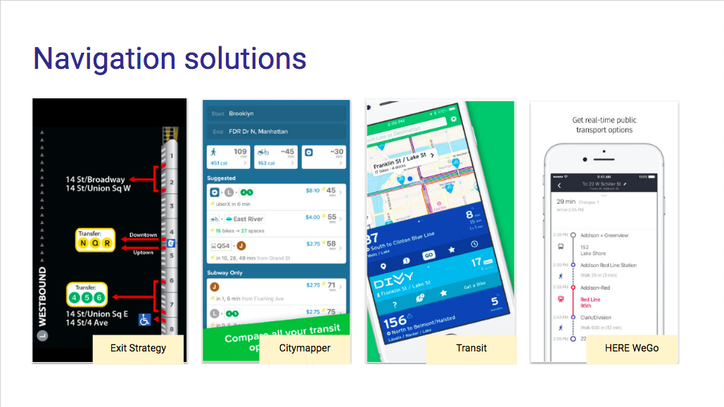 Navigation solutions for NYC public transit focused on details like which train cars to board, which station exits to use, and notifying the user of delays in real time. There are dozens, if not hundreds, of apps that use NYC public transit data and deliver other layers of value on top.