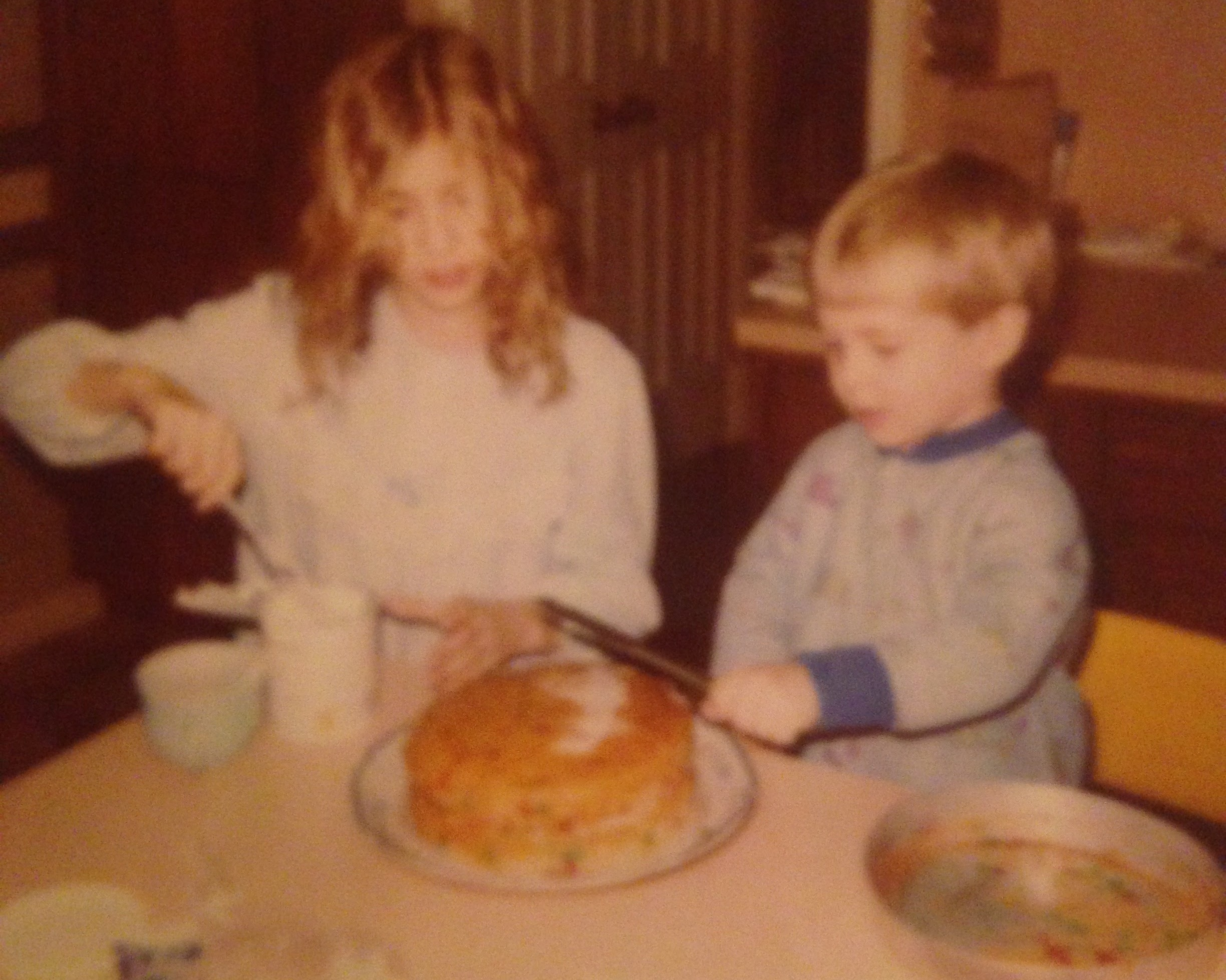 baking a cake with my little brother