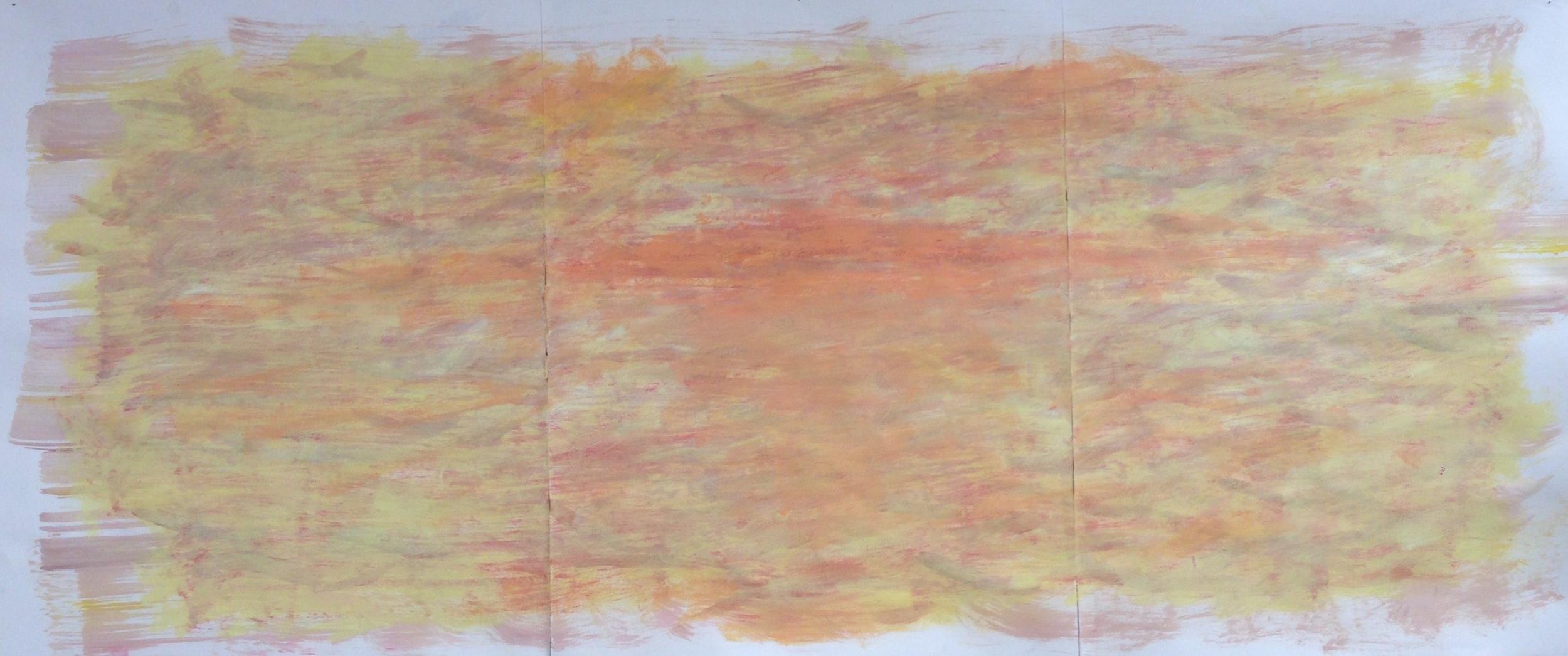 "Sunset Feeling Inside  - $200 (mixed media on paper, 54"" x 24"")"
