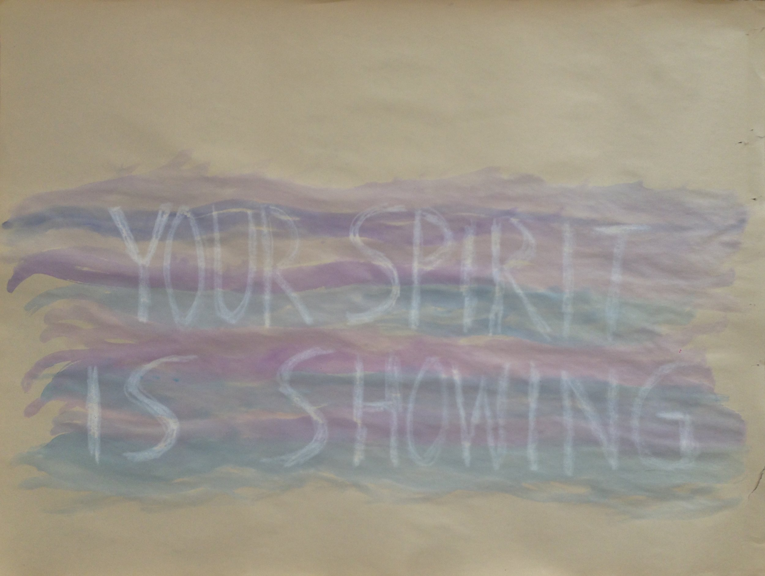 "Your Spirit Is Showing  - $50 (watercolor, oil pastel on paper, 24"" x 18"")"