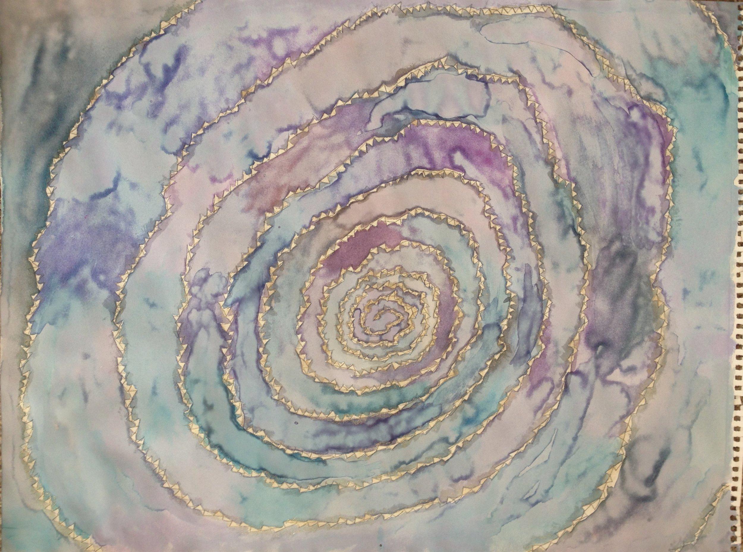 """Galaxy Swirl  - $150 (mixed media on paper, 24"""" x 18"""")"""