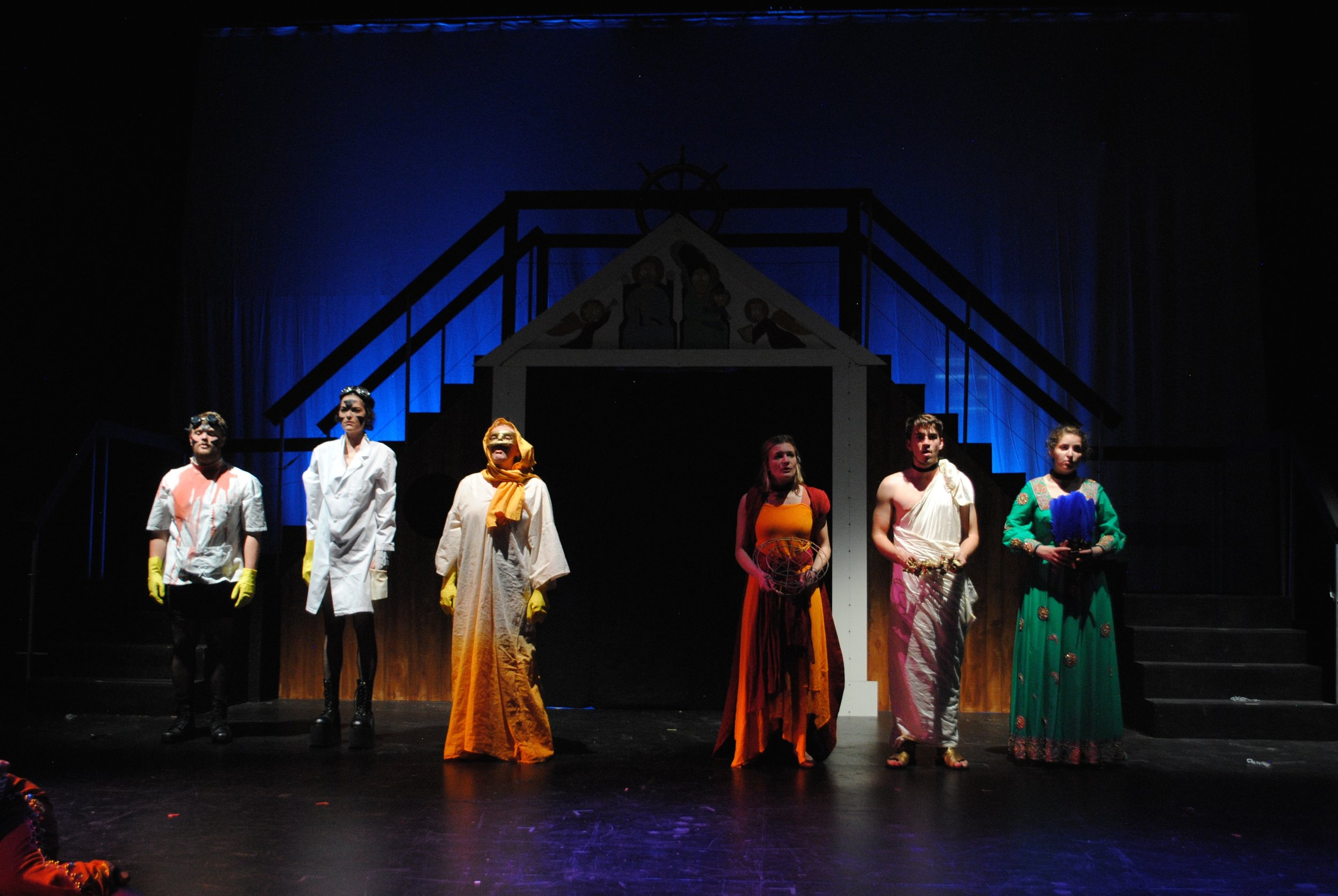 Mr. Burns: a post-electric play    Sam / Homer  with (left to right) Will Viederman, Isabella Giovannini, Lilla Brody, Rebecca Brudner, and Annie Saenger at the Iseman Theater
