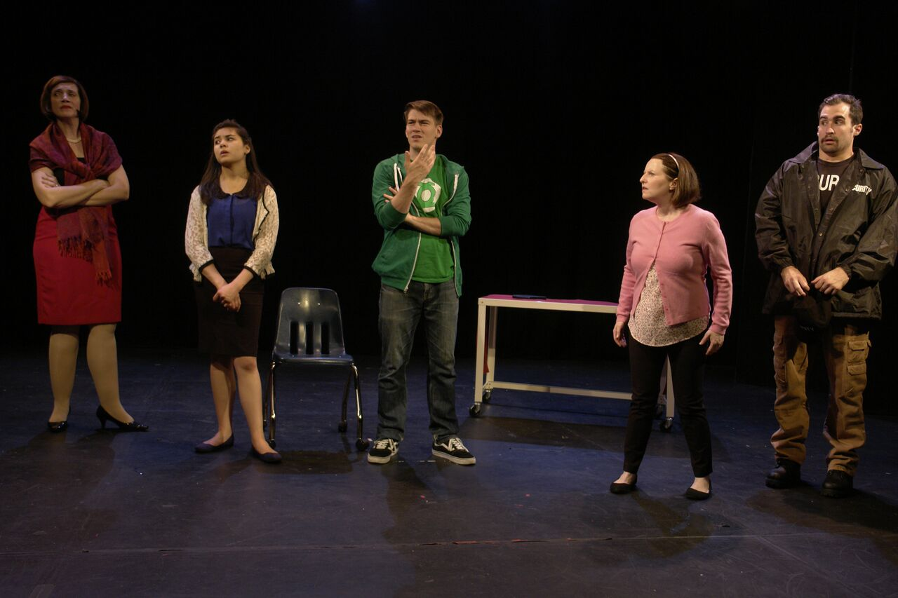 Buffalo Heights     Connor Smith  with (left to right) Lori Funk, Brittney Liu, Jake Lipman, and Patrick Truhler at LATEA Theater