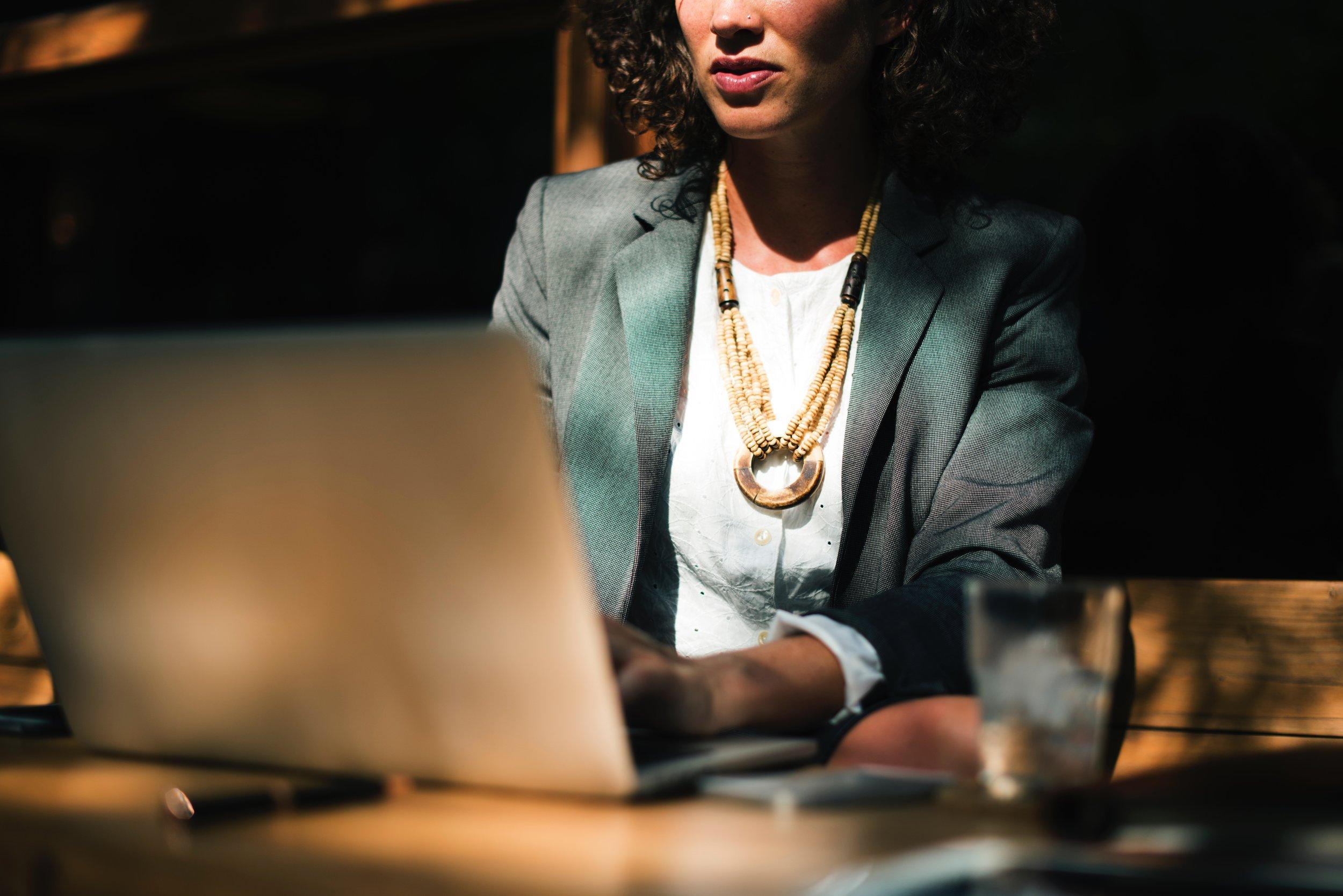 woman seeking online counseling