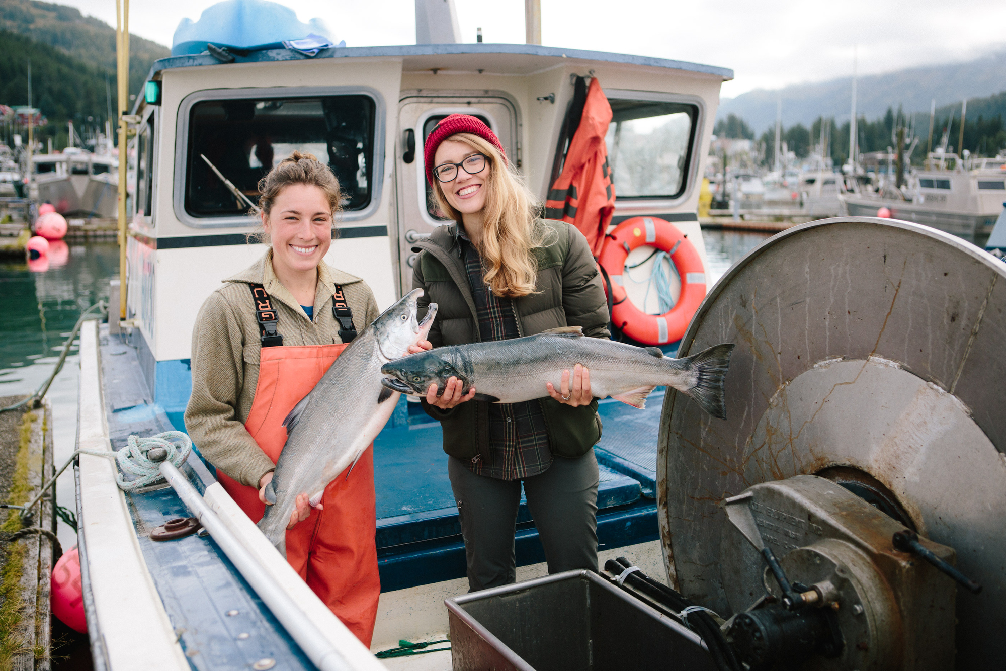 Ashley and Nellie on the Drifter's Fish Boat in Cordova, Alaska